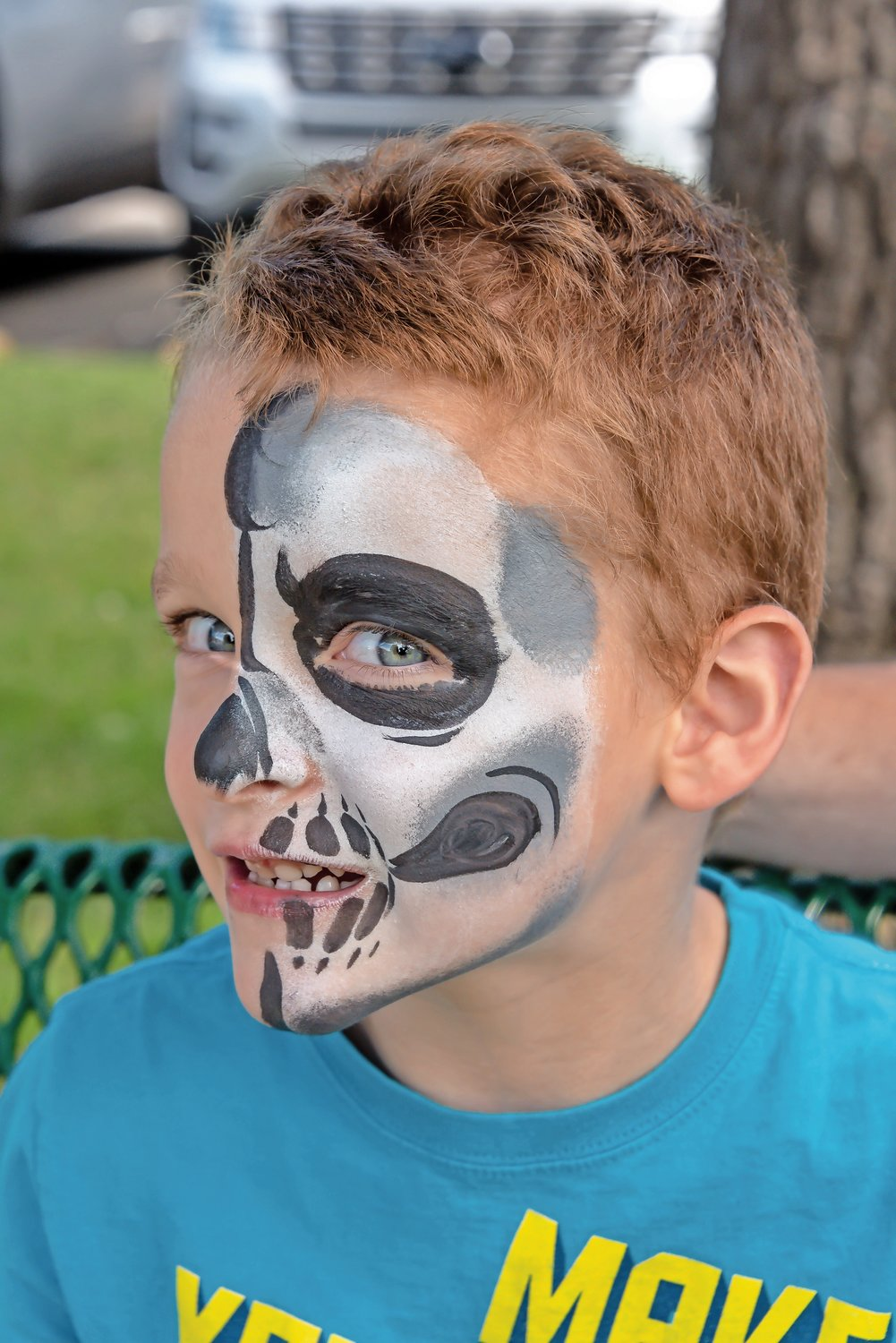 Nick Reed pulled his best skeleton impression to match his impressive face paint.