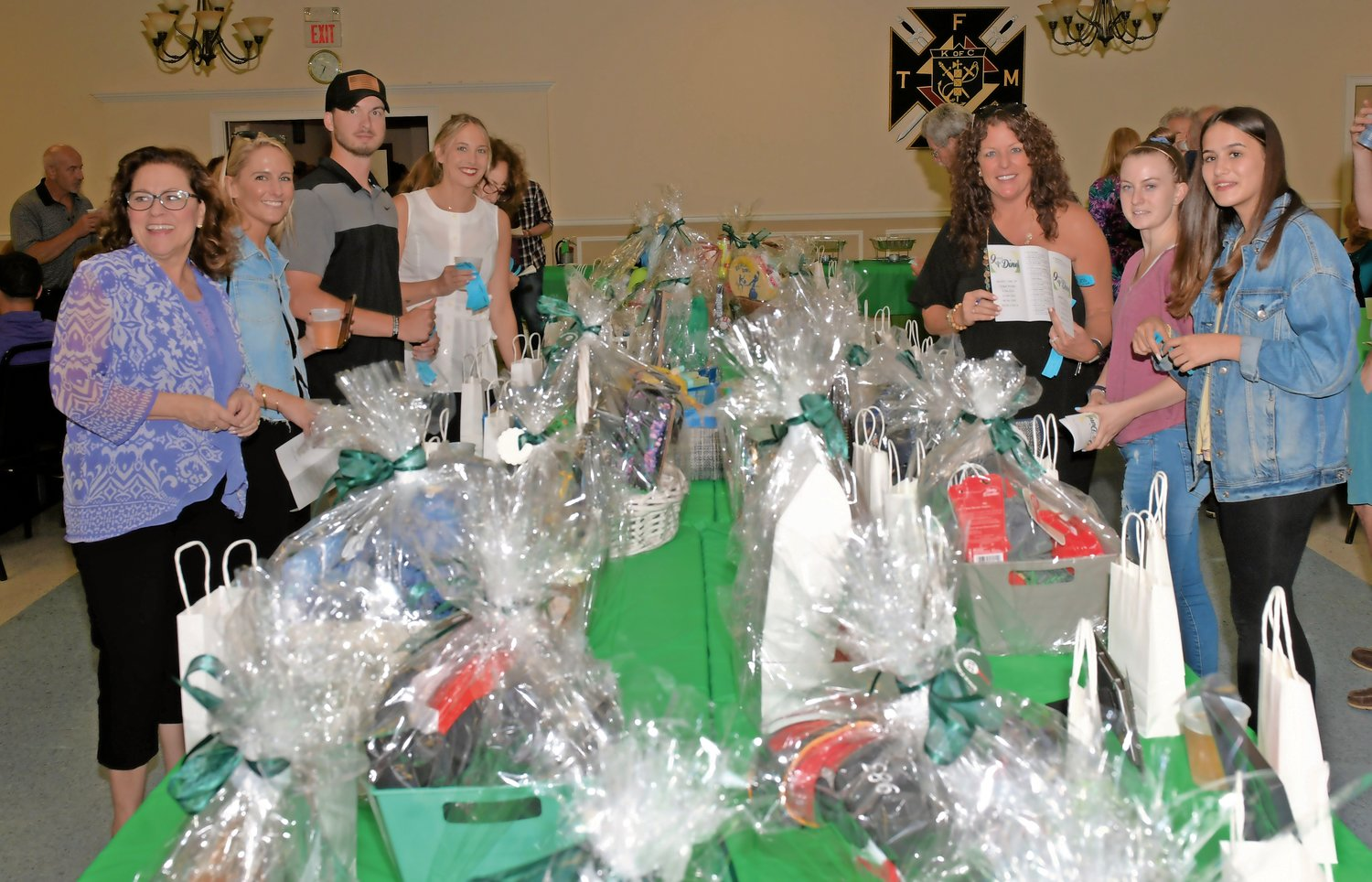 There were plenty of baskets for the lucky winners at the Glen Cove Hall of Fame's 9 and Dine event.