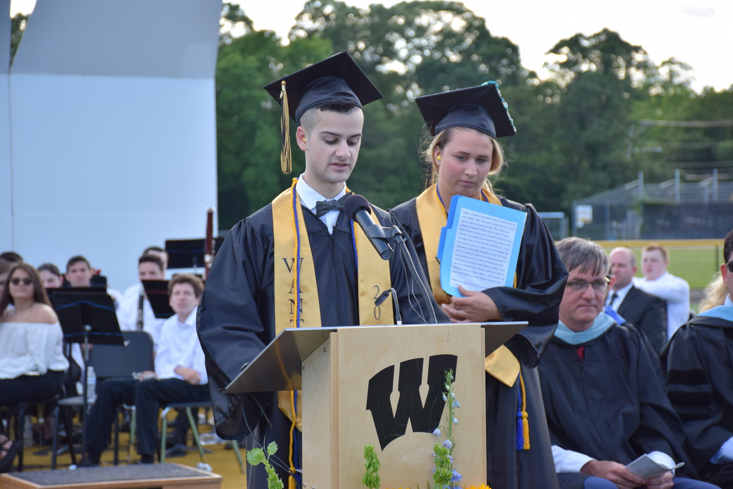 Senior Class Co-presidents Carlo Tobia and Angela Labenberg encouraged, and gave advice to, their peers during their speeches.