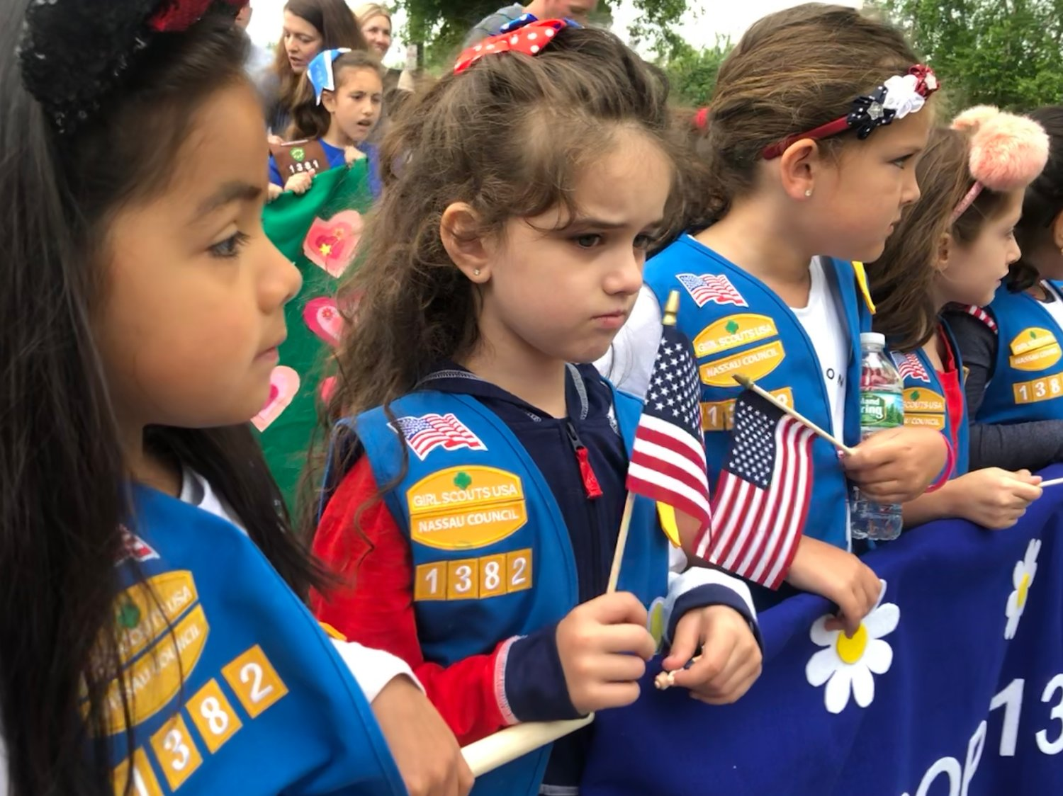 Troop 1382 scouts, Valerie Rico Sabrina D'Angelo, Alexandra Maresca and Markella Araujo marched in the 2018 Franklin Square Memorial Day Parade.