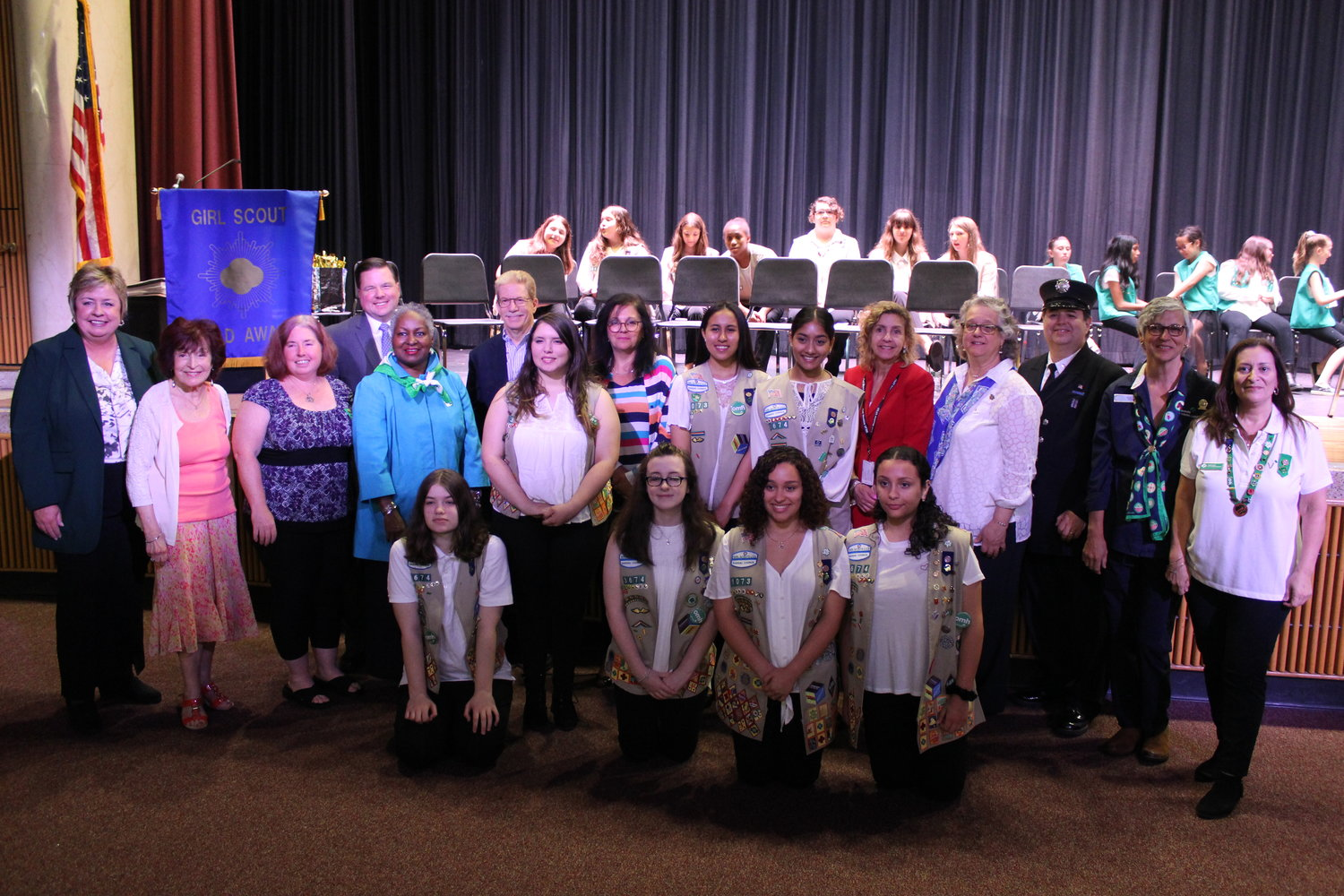 East Meadow Girl Scouts were recognized with the Gold Award, the most prestigious honor in the organization, at a ceremony at W.T. Clarke High School on June 6.