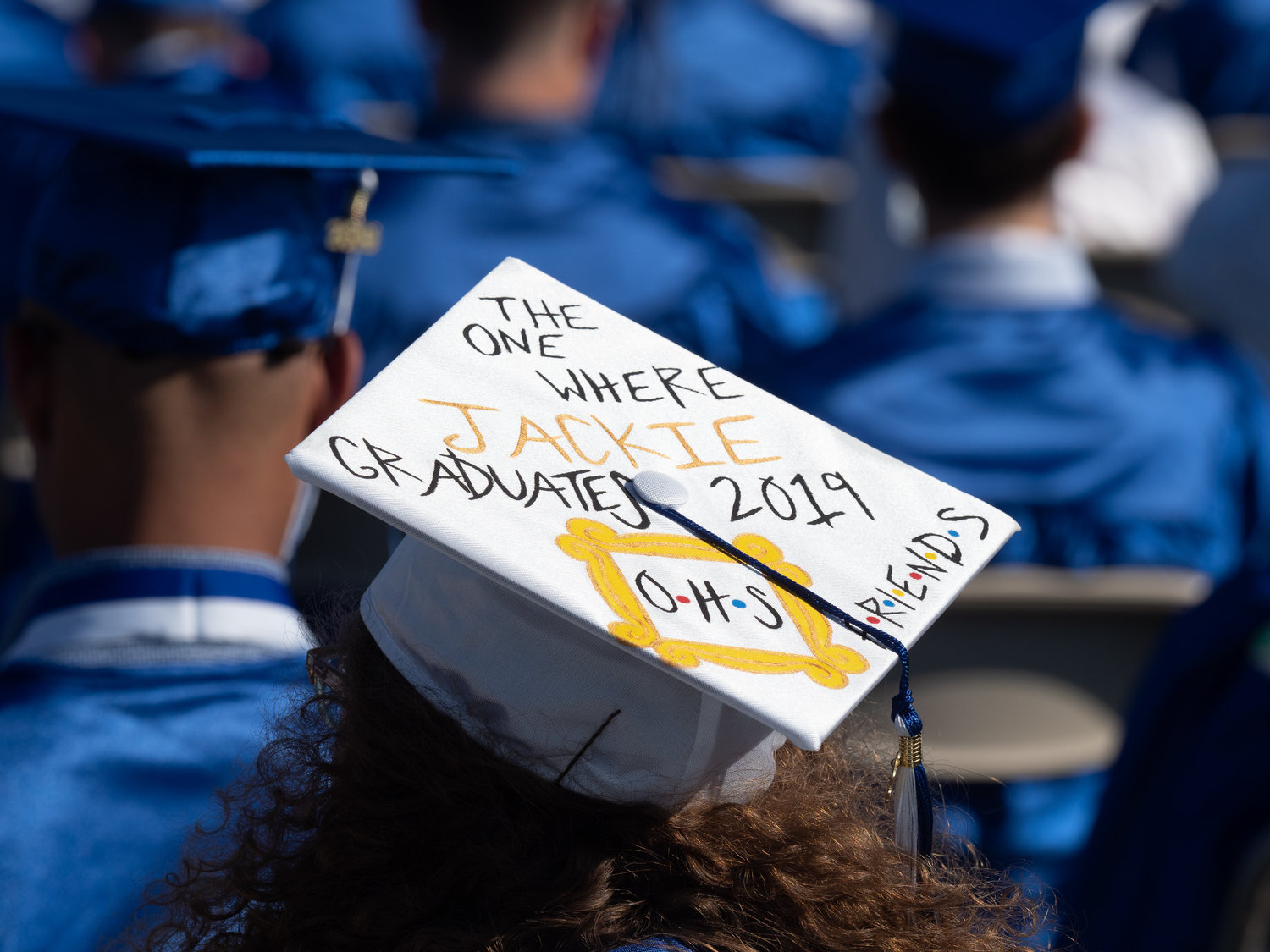 "For the first time, students were permitted to decorate their mortarboards. One student used the TV show ""Friends"" for inspiration."