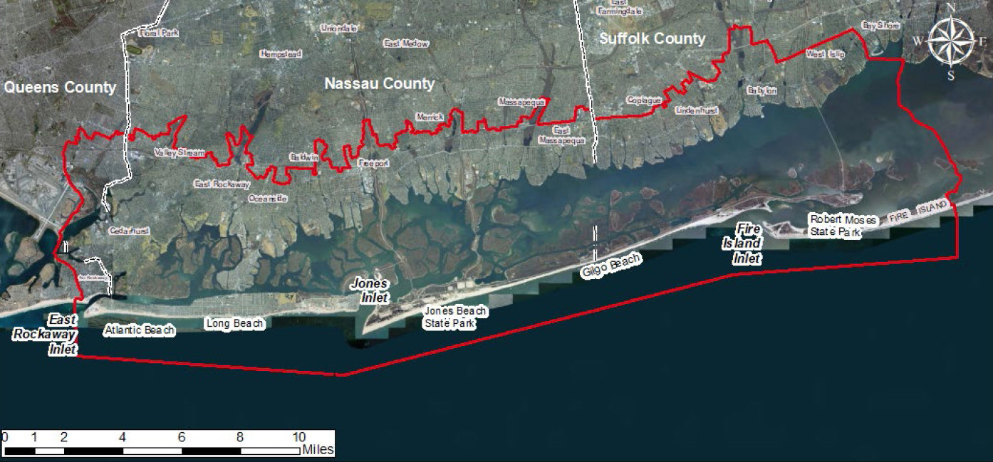 The Army Corps of Engineers outlined in red the areas their back bay studies has included and will continue to follow up with the next three years if the study is extended.