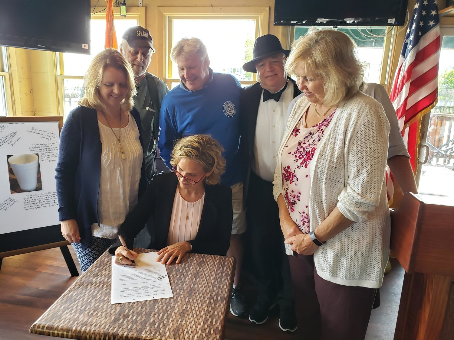 Nassau County Executive Laura Curran signed into law a ban on plastic foam in the county on June 11.