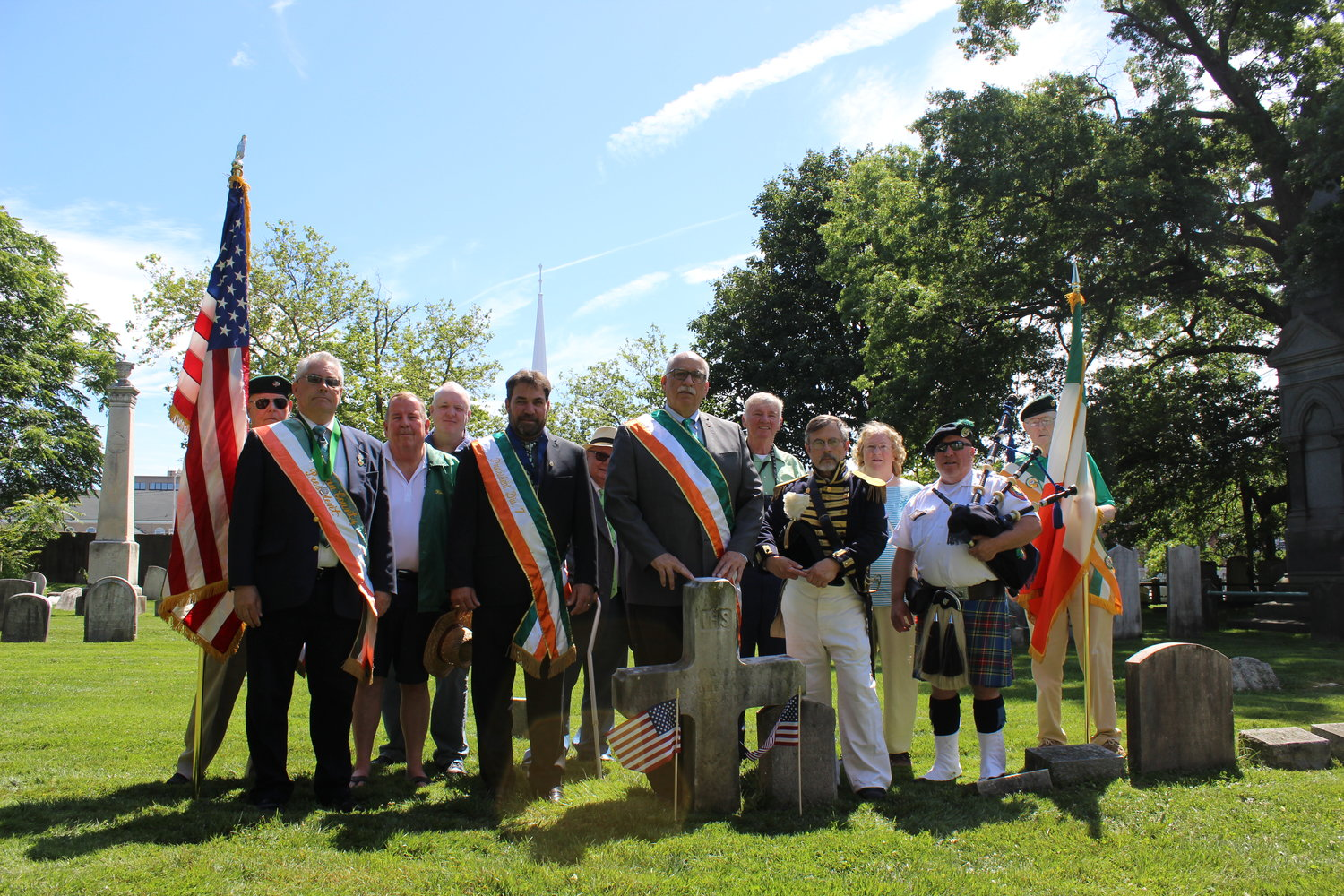 Town Councilman Dennis Dunne Sr. led a ceremony at the grave of Commodore George Coleman de Kay at his place of his burial in the cemetery of St. George's Episcopal Church in Hempstead on June 15.