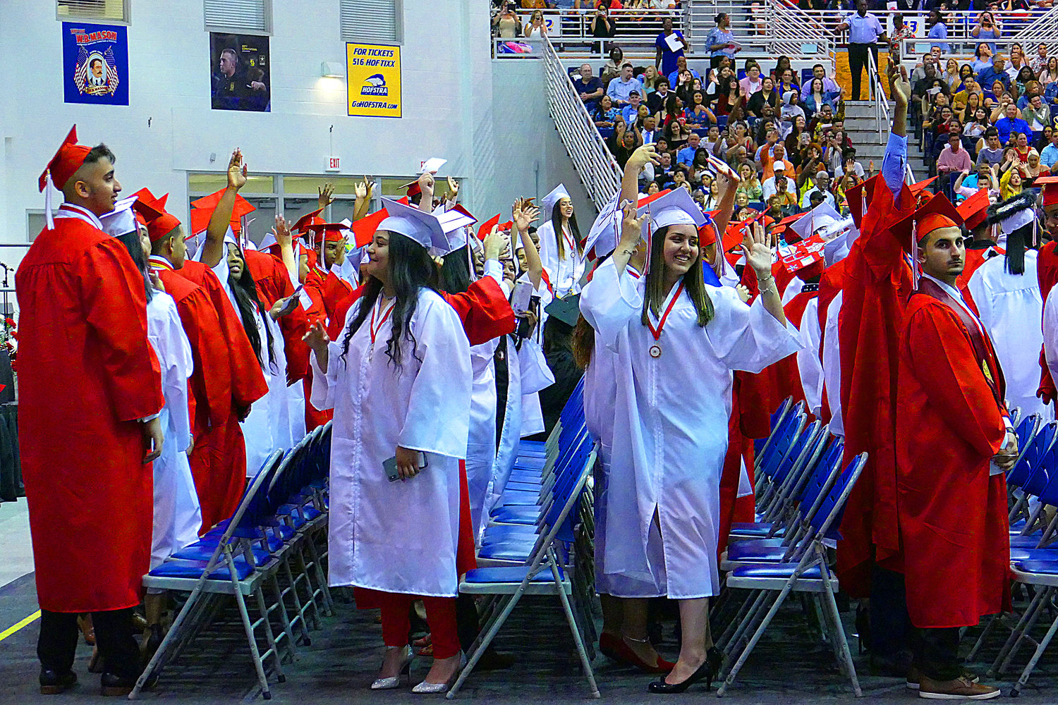 Seniors waved to their family members and friends at the Freeport High School graduation last Saturday at Hofstra University's David S. Mack Sports and Exhibition Complex.