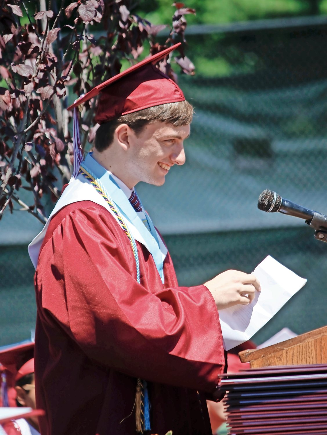 Valedictorian James Campbell shared some words of wisdom with the crowd.