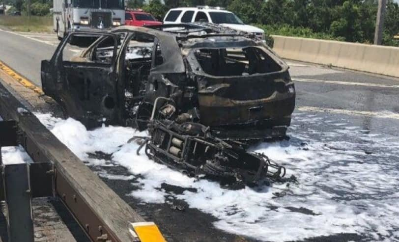 A car and a motorcycle were totaled after an accident on the Loop Parkway, which caused a massive fire.