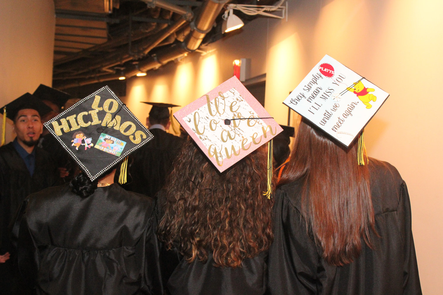 West Hempstead High graduates sported a wide range of creatively illustrated headgear at the ceremony.