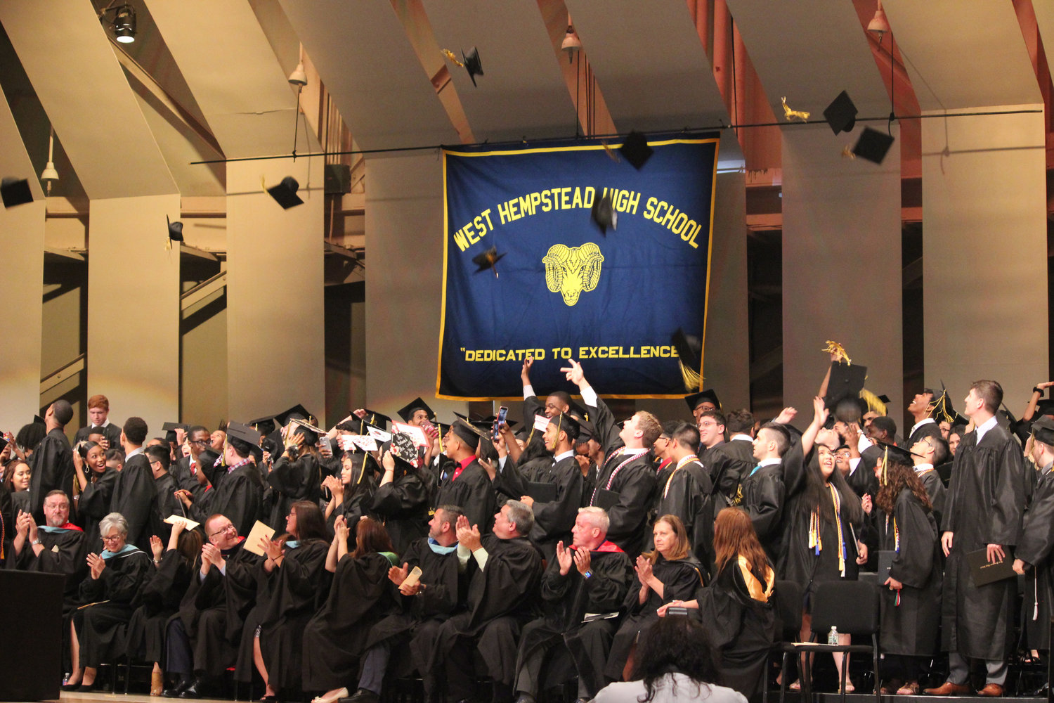 West Hempstead High School's class of 2019 tossed their mortarboards in the air during the end of their graduation ceremony at LIU Post last Sunday.