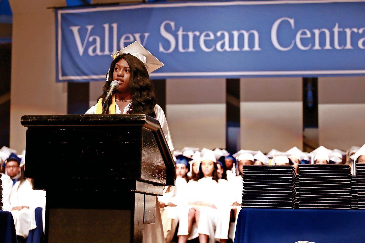 Valedictorian Sophia Steele told her fellow graduates to be present in the moment at Central's June 26 graduation ceremony.