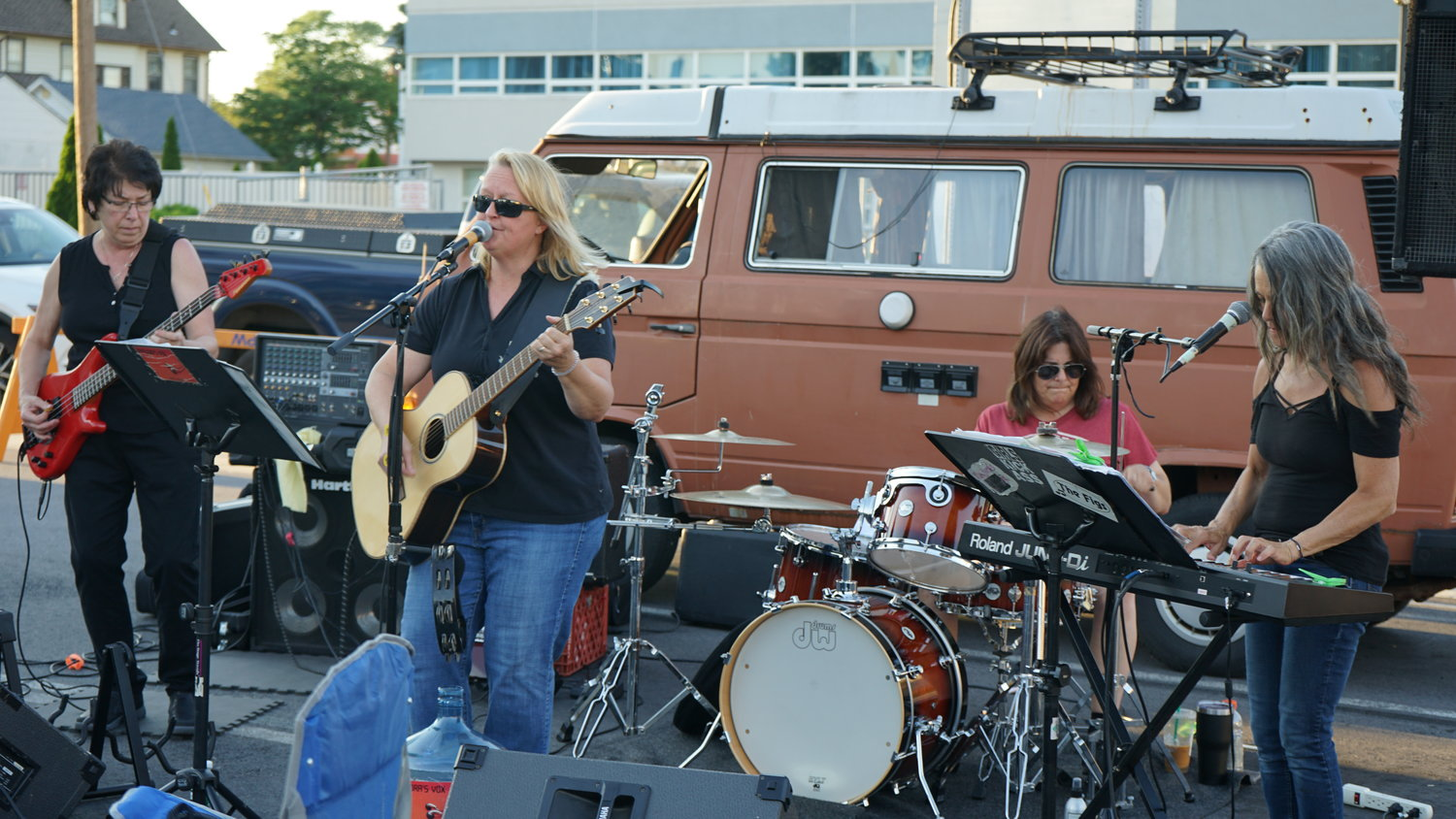 Local band Pandora's Vox played some oldies for the gathered crowd.