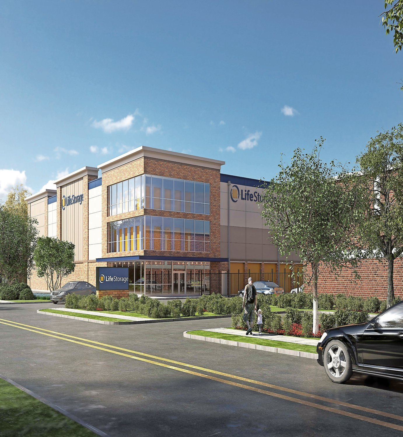 A rendering of the Life Storage facility proposed to replace the Halm Industries building.