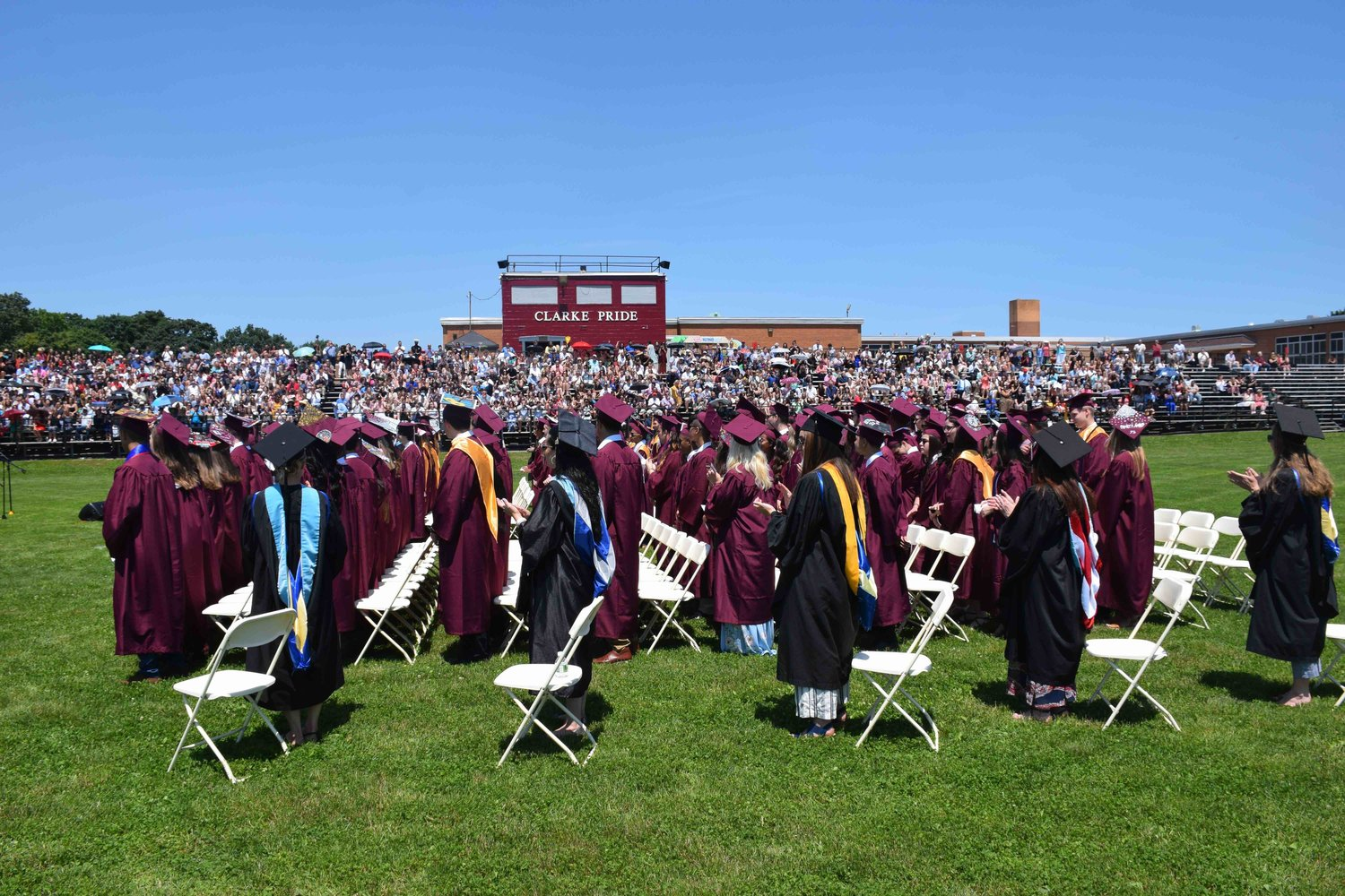 The sunny Sunday afternoon drew hundreds to see the seniors in the Class of 2019 shake hands with district officials and earn their diplomas.