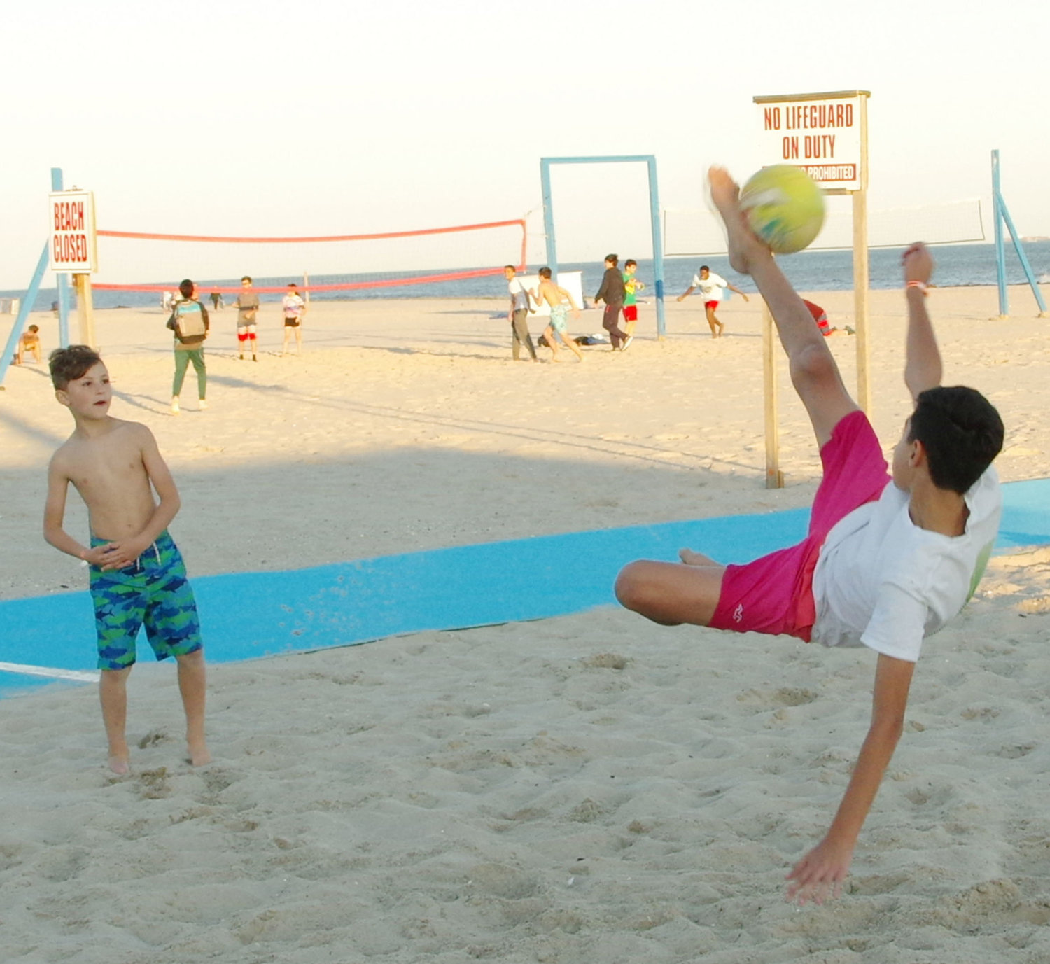 Kfir Halfon, 11, did not need a lifeguard to show off his impersonation of Pelé.