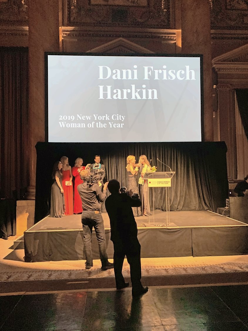 Dani Frisch Harkin, a South Side High alumna, was invited on stage to make a speech after presenters announced she had won Leukemia and Lymphoma Society's New York City Woman of the Year.