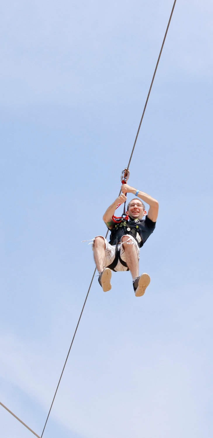 """I'm coming back to try the extreme course when its finished"" said Michael Johnson of Port Jefferson, who zip lined his way across the Classic Course on July 6."
