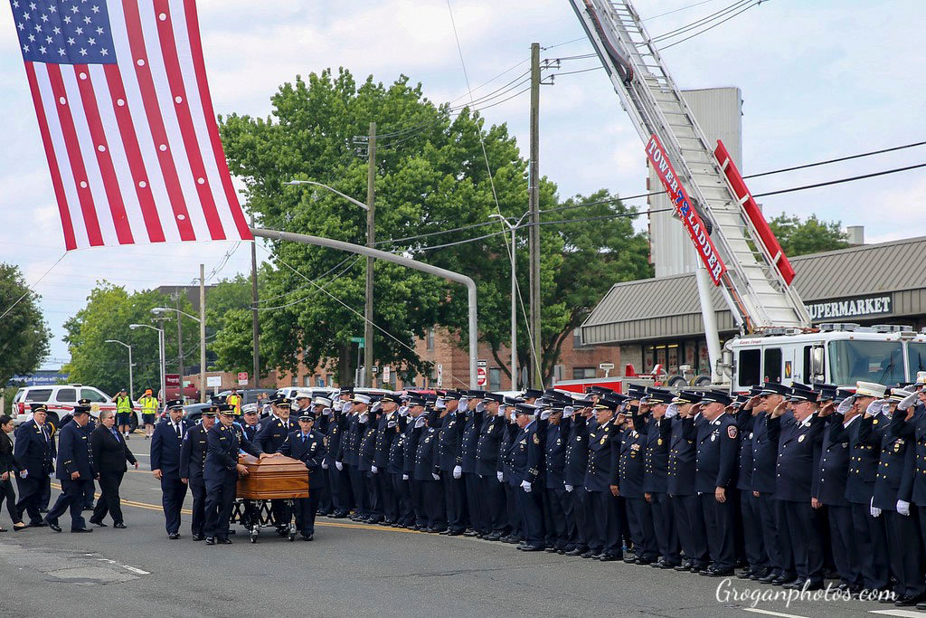 Hundreds turned out for Long Beach firefighter Michael Ornauer's funeral service on July 7.
