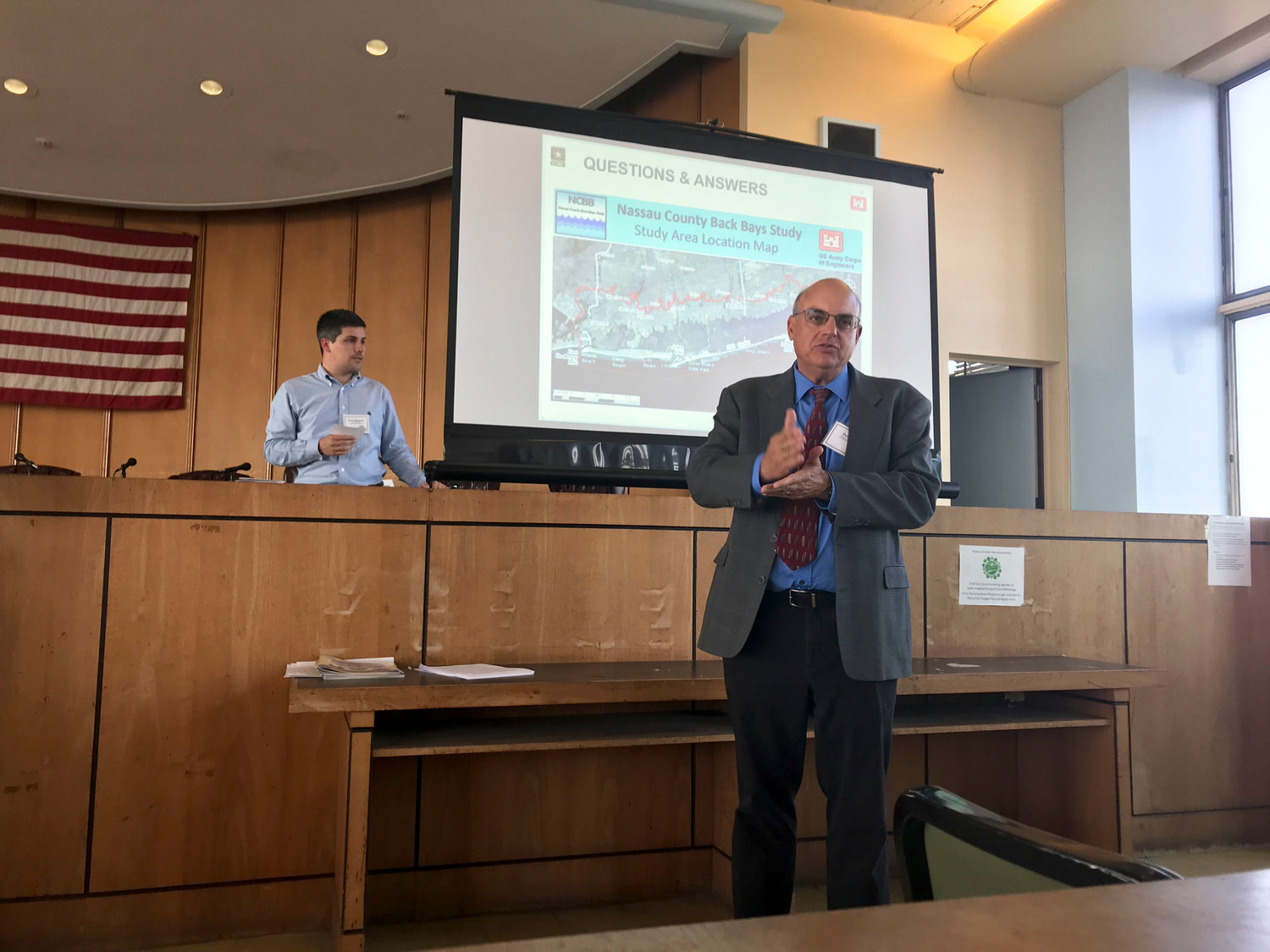 Peter Blum, chief of the Army Corps' planning division, answered residents' questions at a public meeting on June 27.