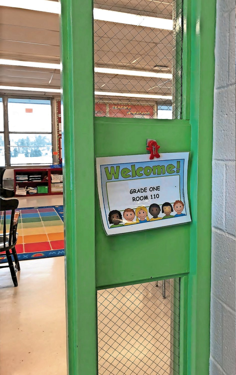The windows in the doors at Gribbin Elementary School, above, are too large to offer enough protection against intruders.