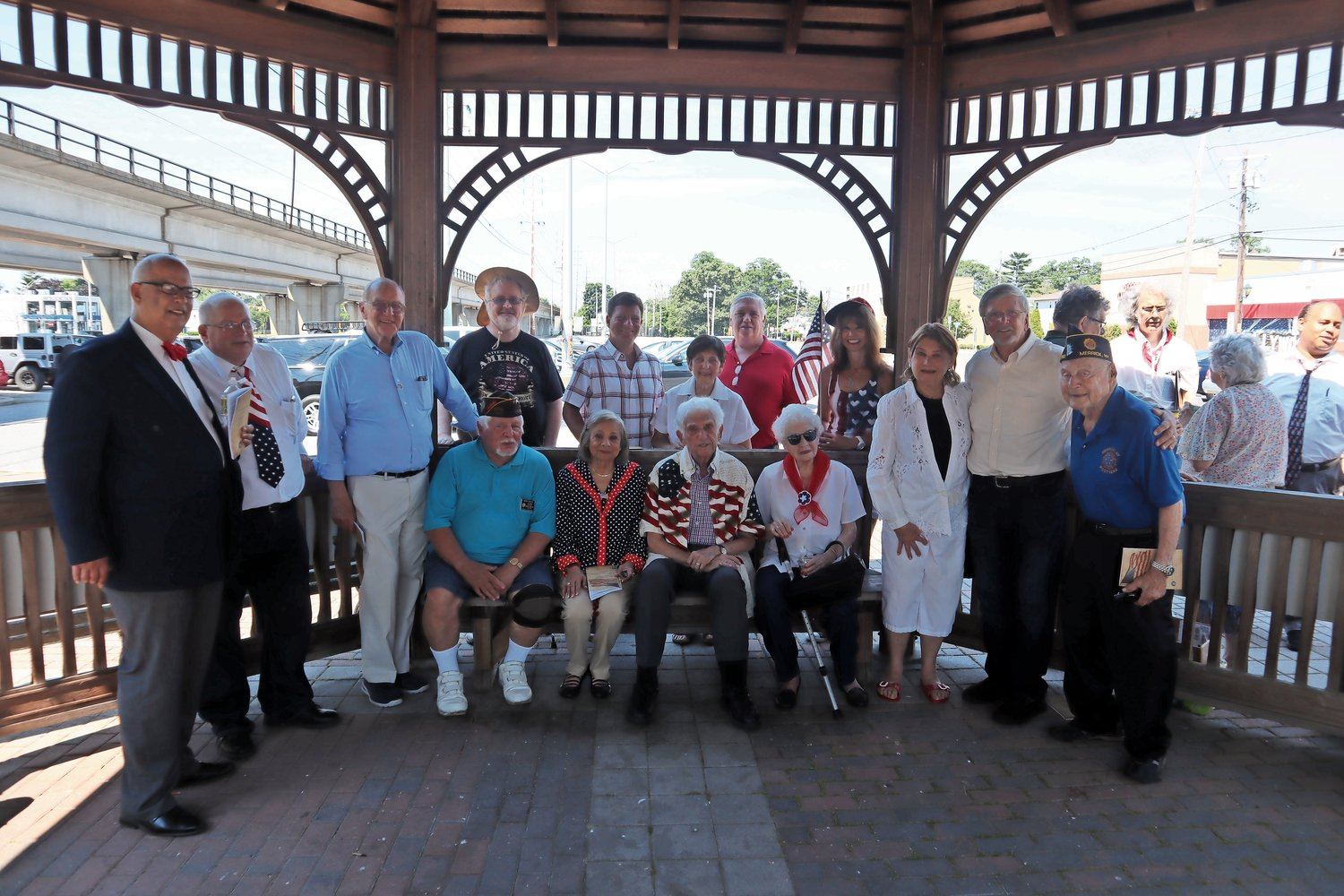 After the Declaration was read, the group gathered under the gazebo.