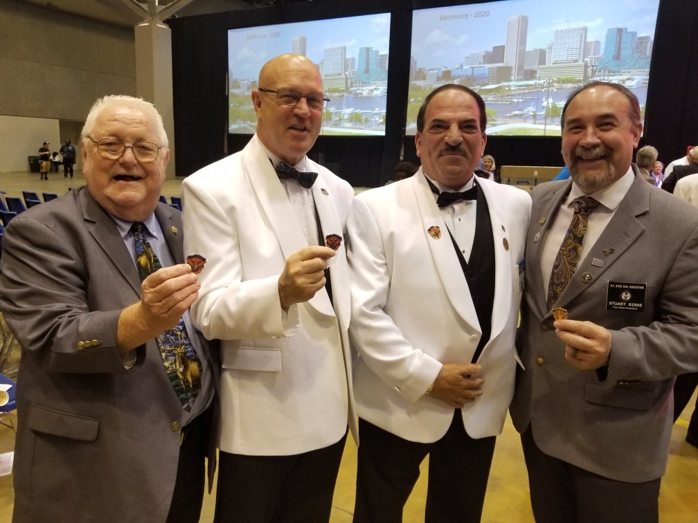 District Deputy Grand Exalted Ruler John Nuzzi, second from right, met other Elks officials, including Tim Kelly, past New York state Elks president, left; Bruce Hidley, a past state president special representative; and Stuart Rishe, another past state president.
