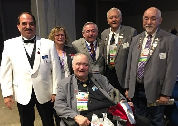 From left, Nuzzi with other New York Elks: Cathy and Gary Gatens, from Staten Island Lodge No. 841; Ron Hansen, from Lynbrook; Mark Stuparich, from Baldwin; and John Gatens, from Staten Island.