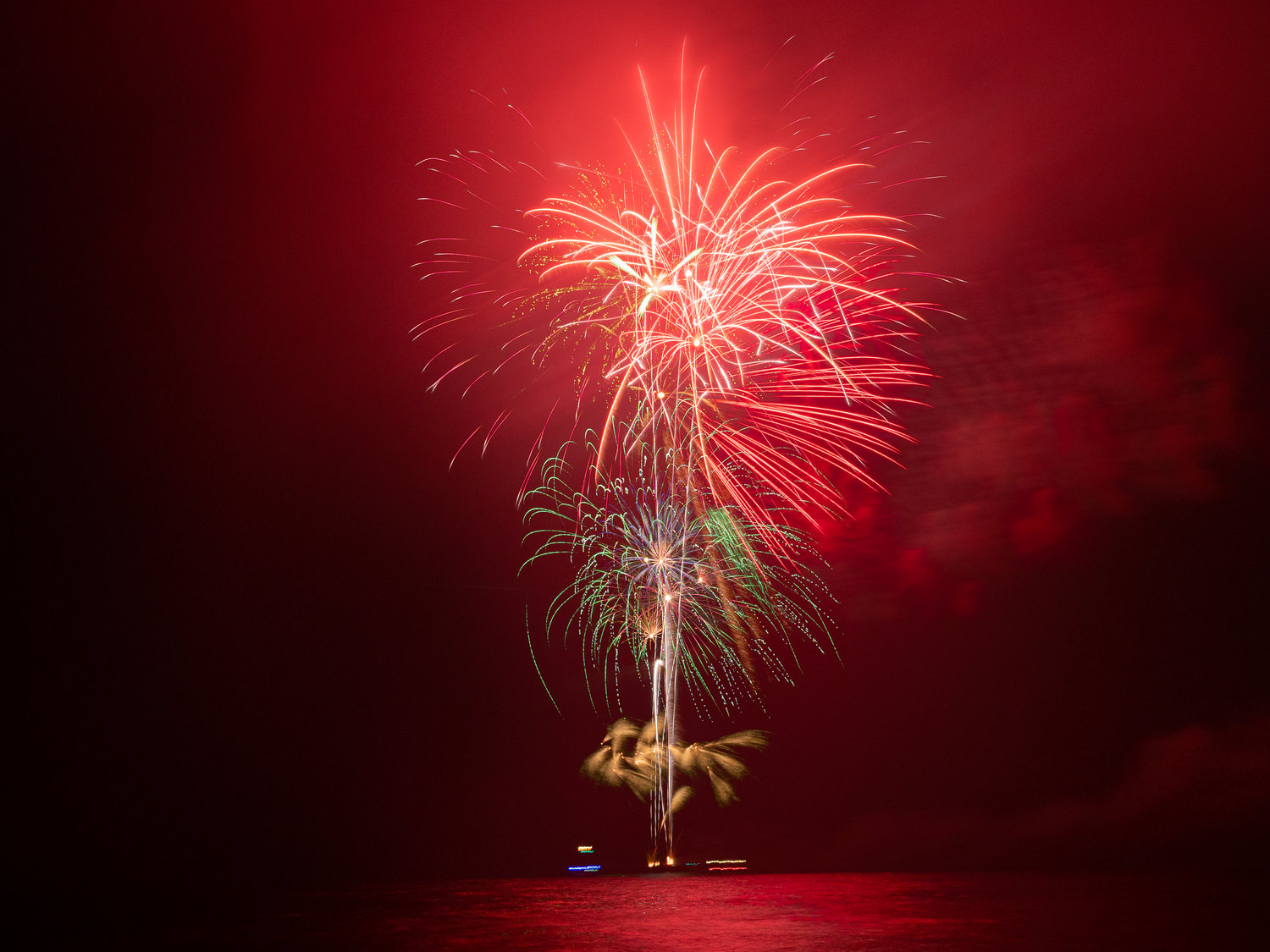The fireworks started before 9 p.m. on Friday and attracted thousands of spectators.