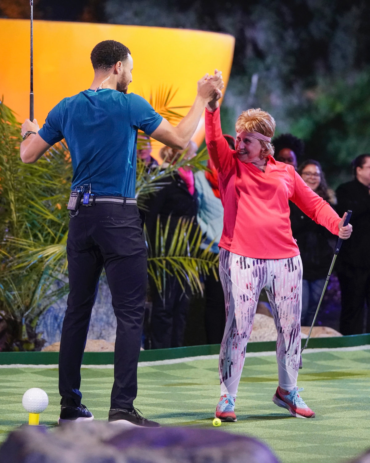 "Marlene Roff Glass got the chance to meet Golden State Warriors star Stephen Curry while competing on ABC's ""Holey Moley"" in April. The episode aired on July 11."