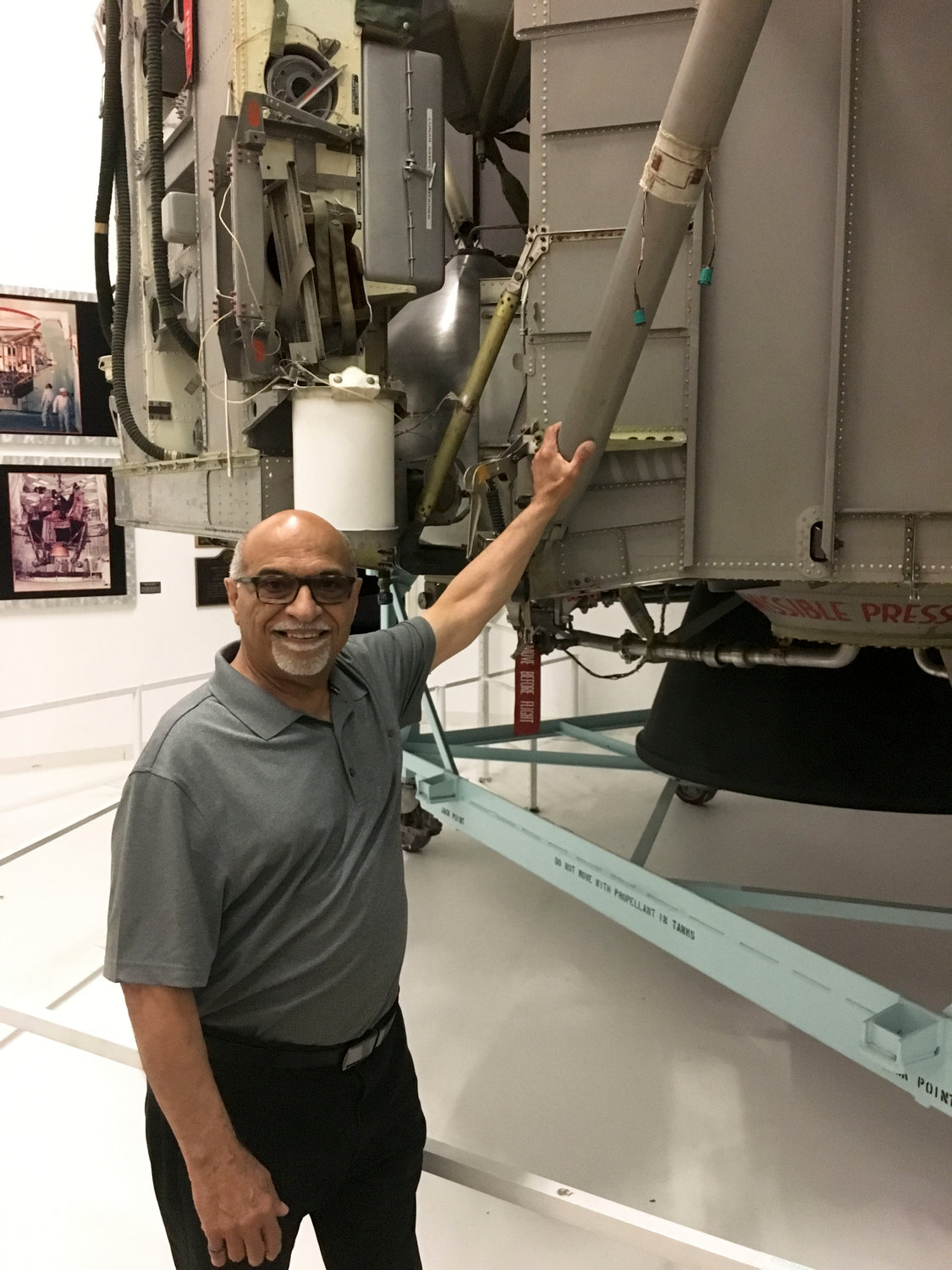 Mike Lisa, the Cradle of Aviation Museum's manager of volunteer services, worked at Northrop Grumman in 1969, when the company created the LM.