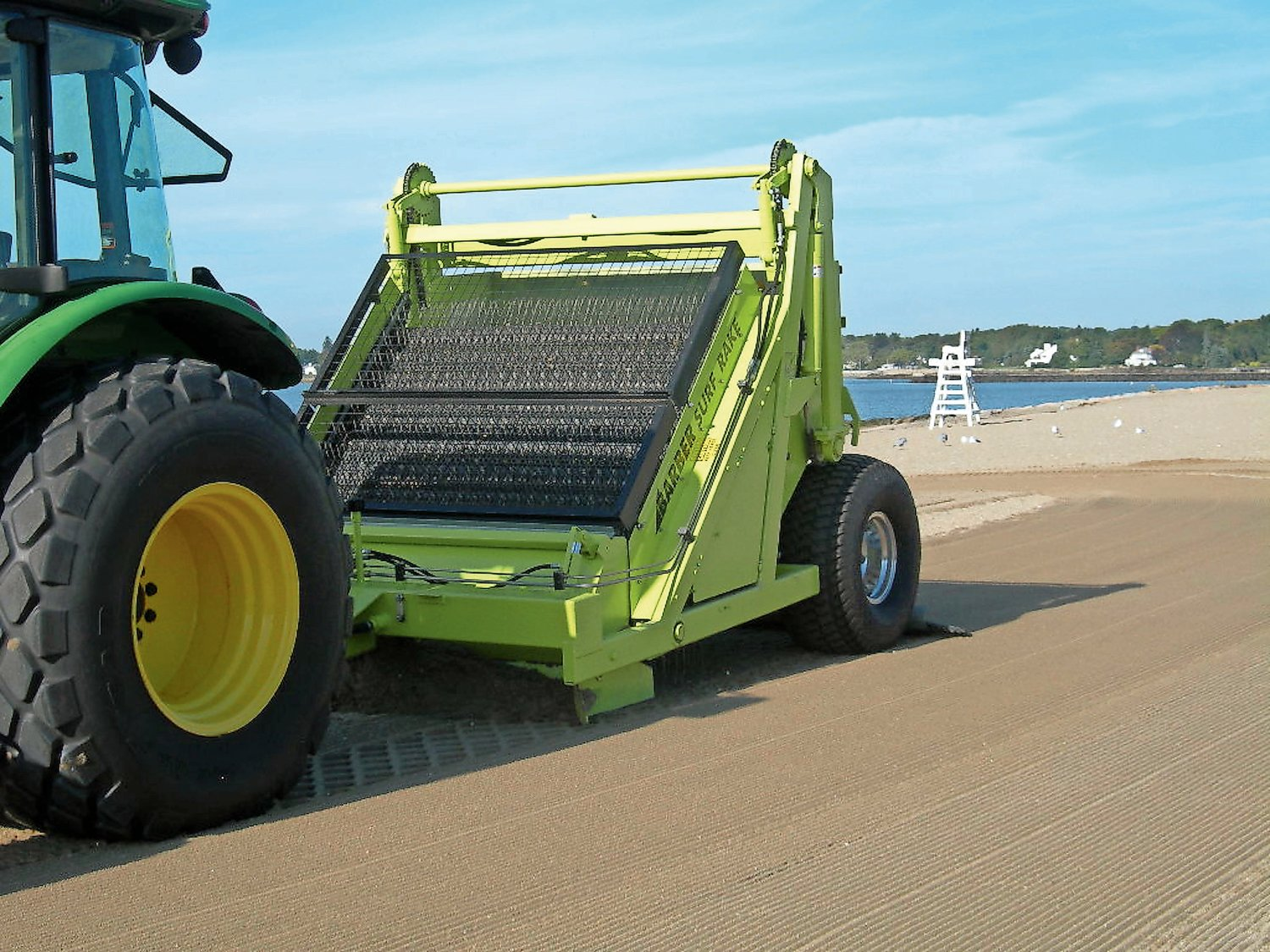 An example of a beach rake machine used by the Town of Oyster Bay at Tappen Beach in Glenwood Landing, Florence Avenue Beach and Tobay Beach in Massapequa and Theodore Roosevelt Memorial Park in Oyster Bay.