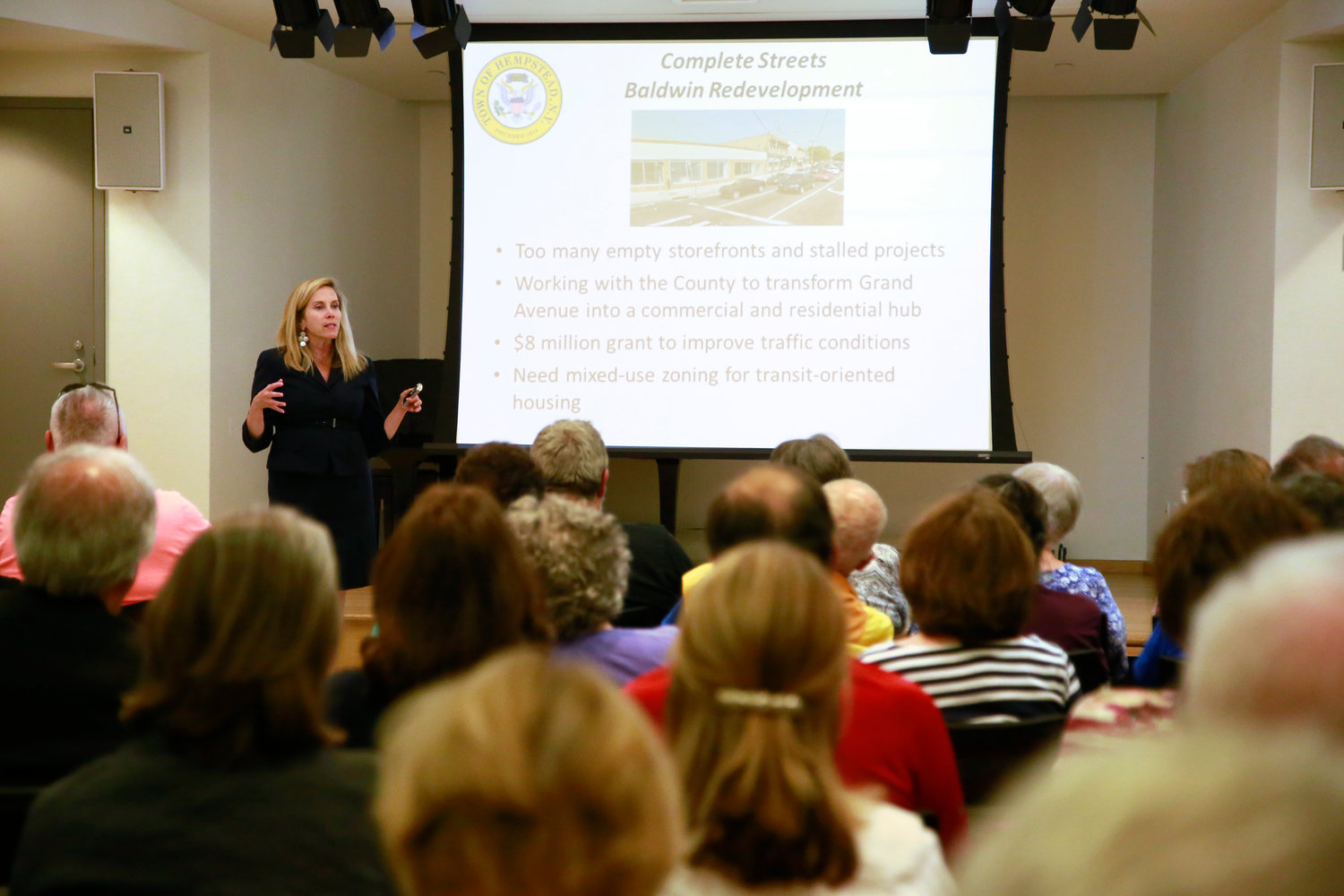 Town of Hempstead Supervisor Laura Gillen, at a public meeting on June 25, explained how a deal between the town and a developer fell through and led to the proposed overlay zone.