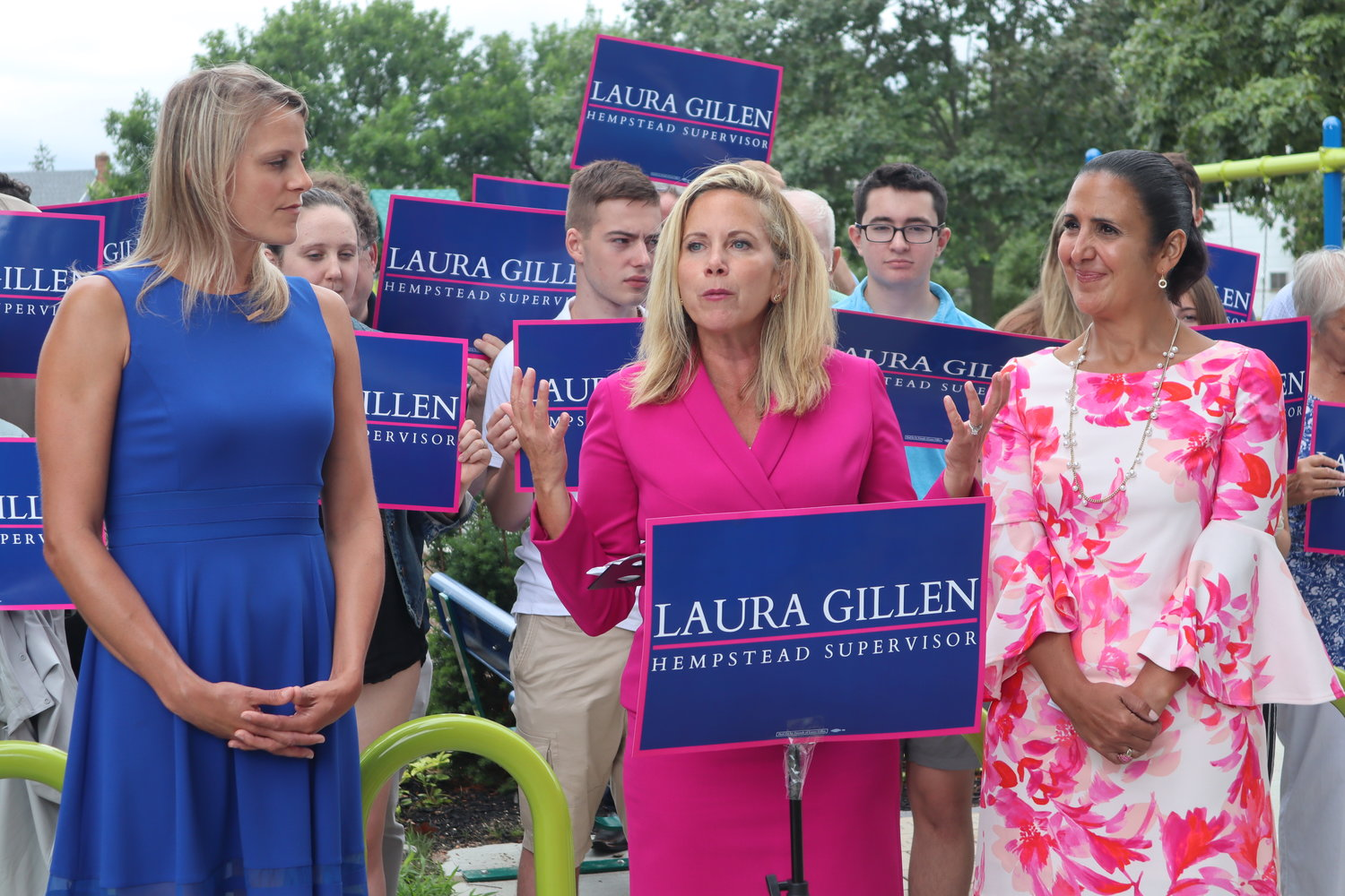 Hempstead Supervisor Laura Gillen, with 5th District candidate Lora Webster, left, and Clerk Sylvia Cabana, held a news conference in Merrick to introduce the slate of Democratic town candidates.