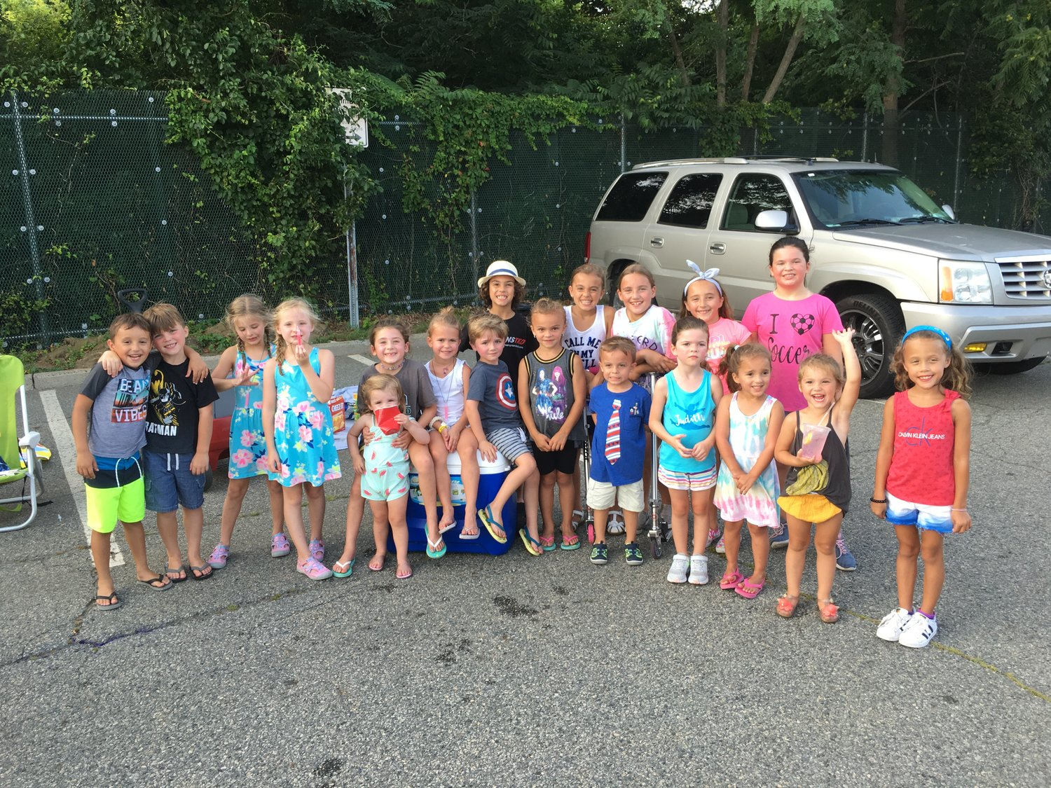 A group of local children enjoyed food and fun at the third of five Seaford Saturday Nights, on July 20, in the Long Island Rail Road train station parking lot.
