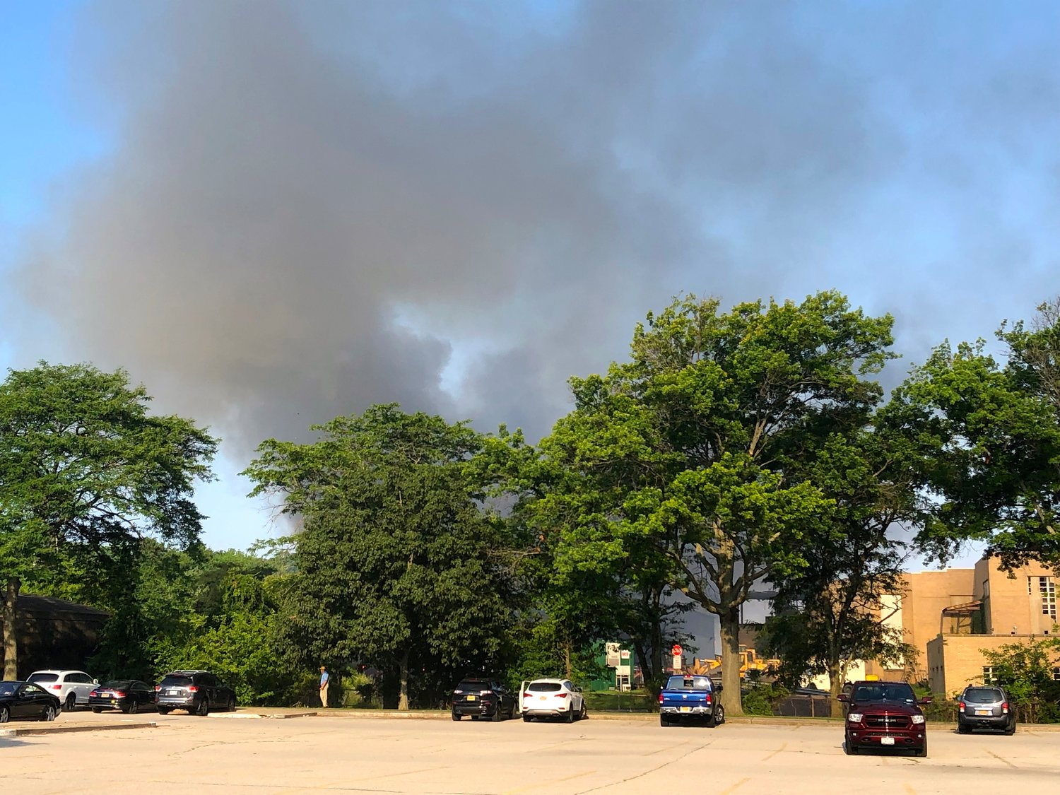 A view of the blaze from the parking lot of the Town of Hempstead's golf course in Merrick.