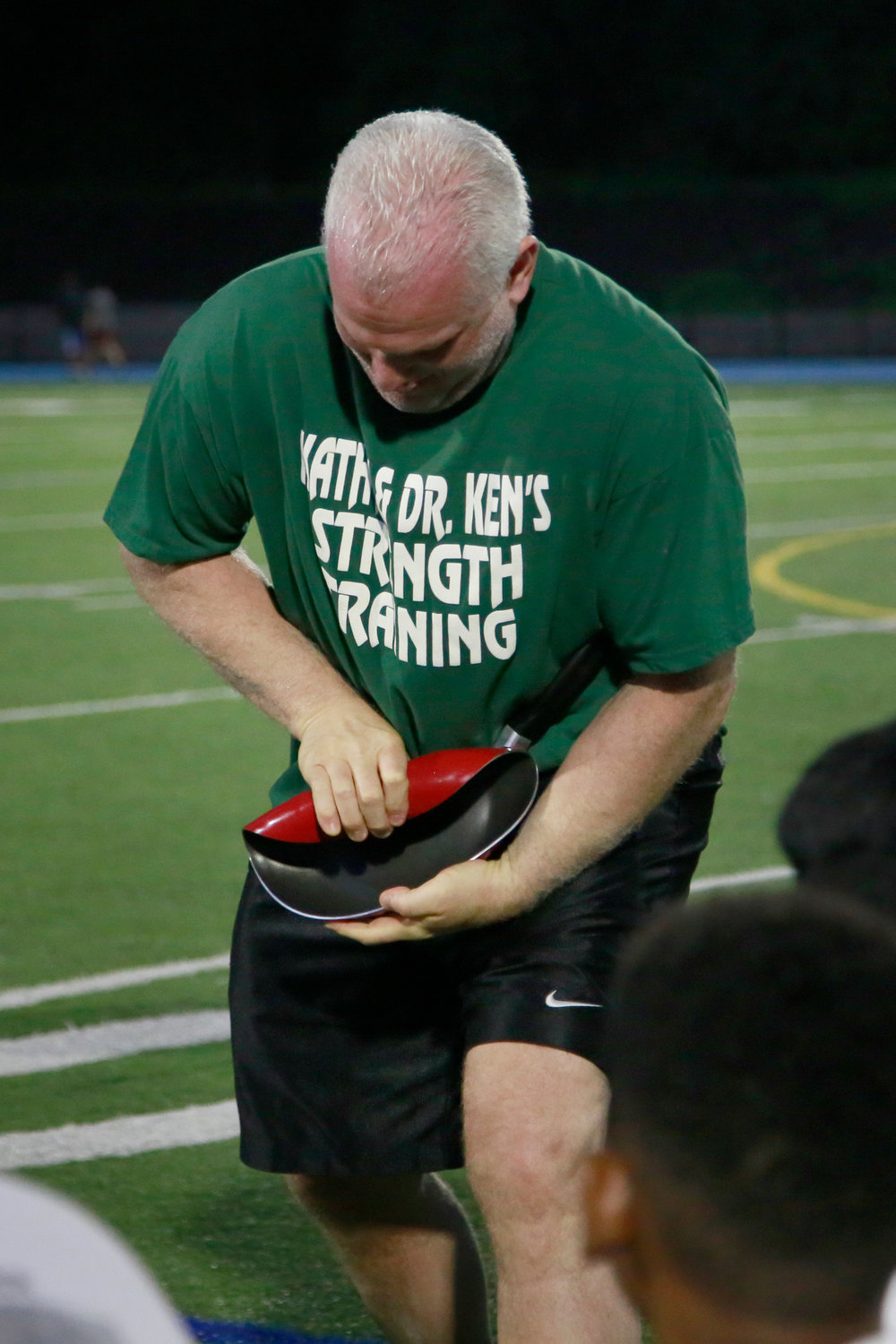 Guinness World Record holder Steve Weiner, who trained with Leistner, rolled a frying pan.