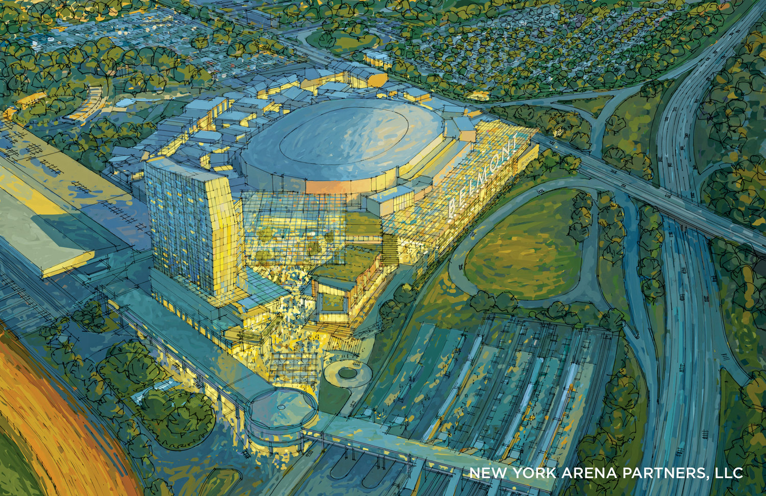 The plans for Belmont Park's redevelopment include a 19,000-seat arena for the New York Islander's National Hockey League Team, a 250-room hotel, a community center, commercial office space and 350,000 square feet of retail space