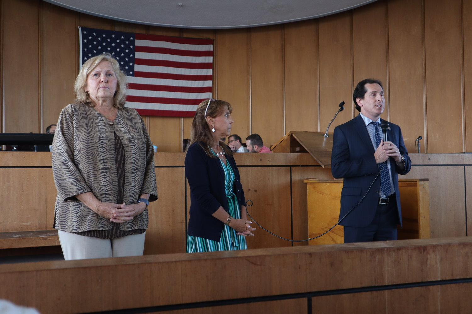 County Legislator Denise Ford, far left, State Assemblywomen Missy Miller and State Sen. Todd Kaminsky spoke before a panel of health experts gave a presentation on the state of Long Beach's drinking water.