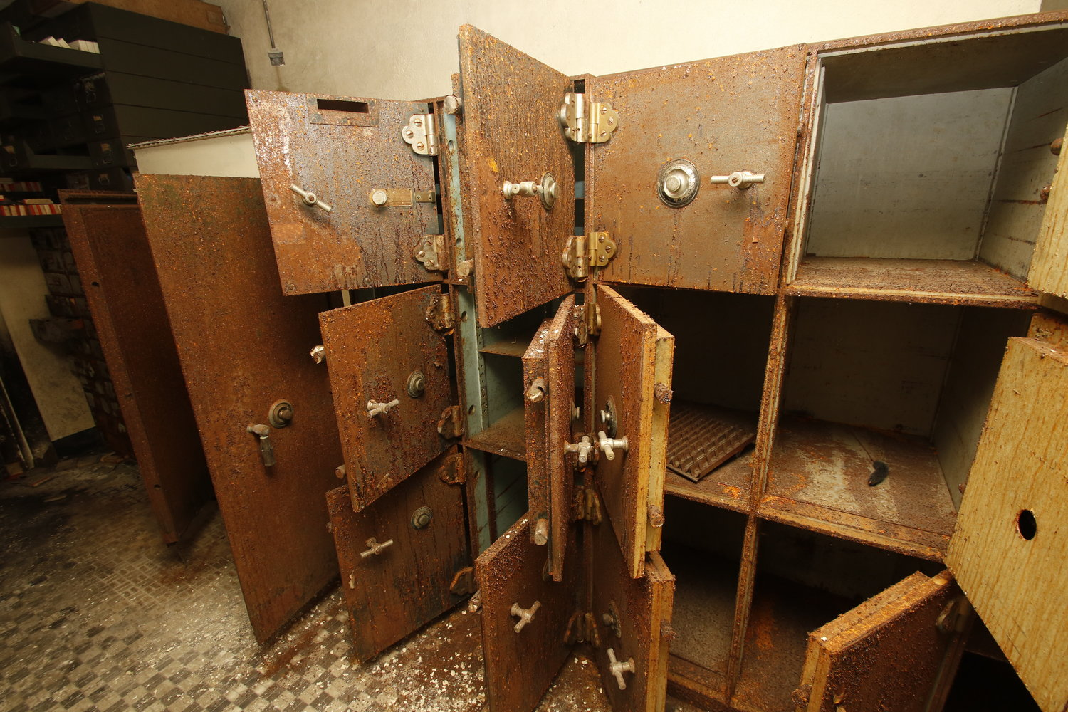 Personal Safety deposit boxes and vaults were rusted.