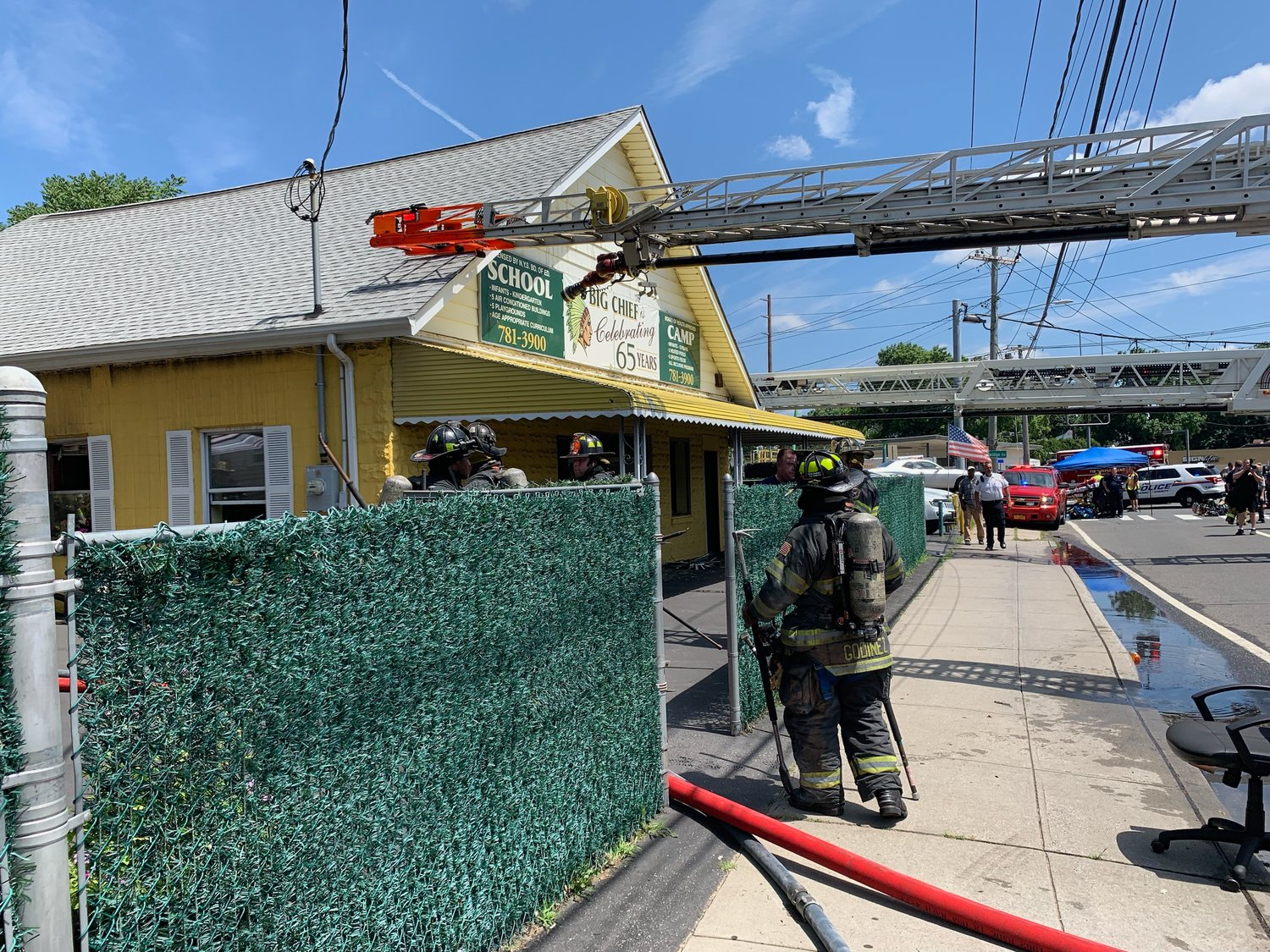 A three-alarm fire broke out at Big Chief Camp in East Meadow on July 24.