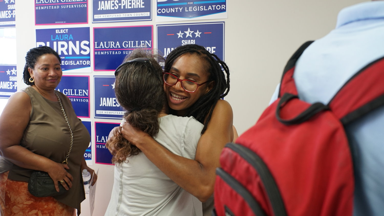 Valley Streamer Shari James hugged a supporter at her campaign kickoff on Saturday. She will be running in November for the Town of Hempstead 3rd Council District against Bruce Blakeman.