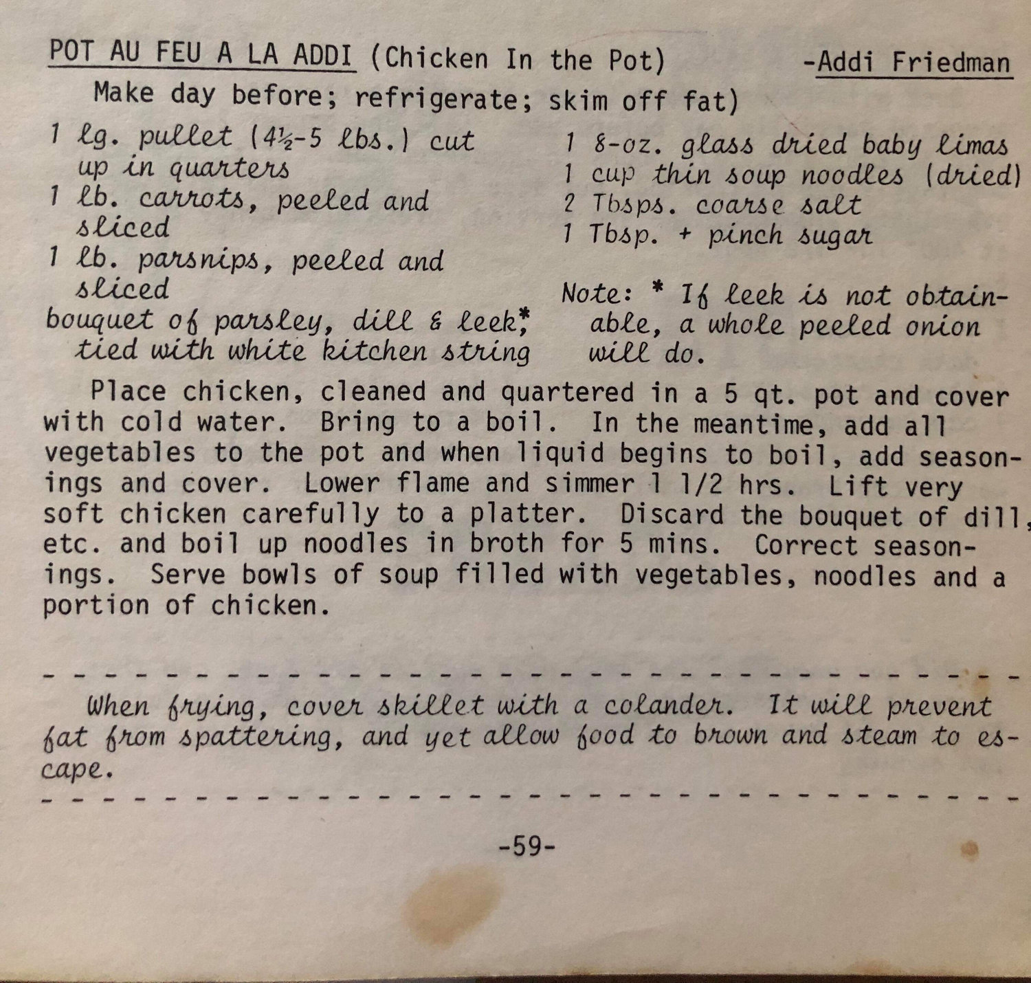 Adelaide Friedman's recipe for Pot Au Feu La Addi that she contributed to a Temple Hillel collection of homemade meals.