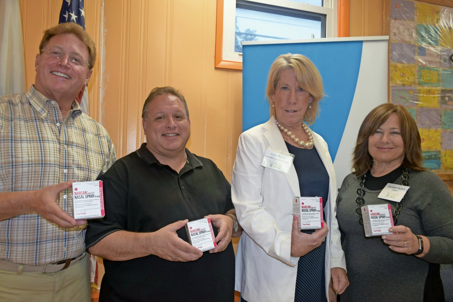 The drug coalition took shape after the Gural JCC hosted a Narcan training last August. From left in 2018 were JCC President Steve Bernstein; David Hymowitz, education director for the Nassau County Department of Human Services; JCC Associate Director Cathy Byrne; and Rachayle Deutsch, the JCC's director of cultural arts and education.
