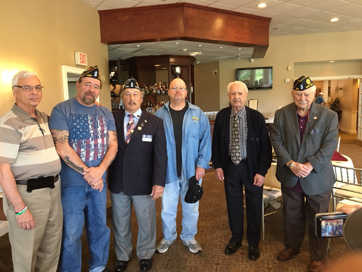 Harry Beltrani, second from right, most recently was the service officer for Post 339. From left were Post Adjutant Brig. Gen. (ret) Pat Alesia, Post Commander Syd Mandelbaum, installing Officer Nassau County Adjutant Al Ficalora, Vice Commander Al Landi and Sergeant-At-Arms Domenic Crici.