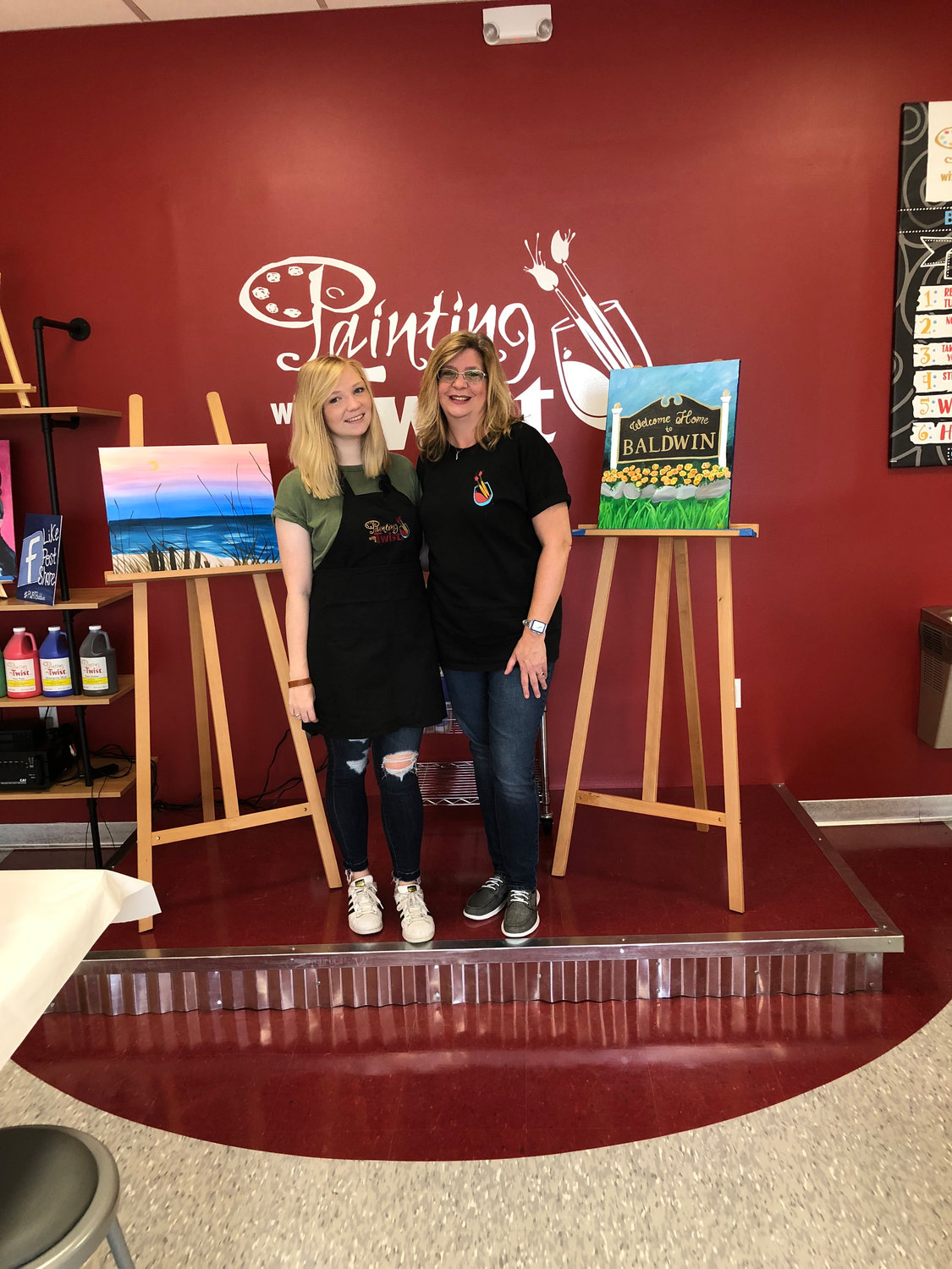 Baldwin resident Joanne Bove, right, and her daughter Katherine recently opened a new paint-and-sip store in Baldwin.