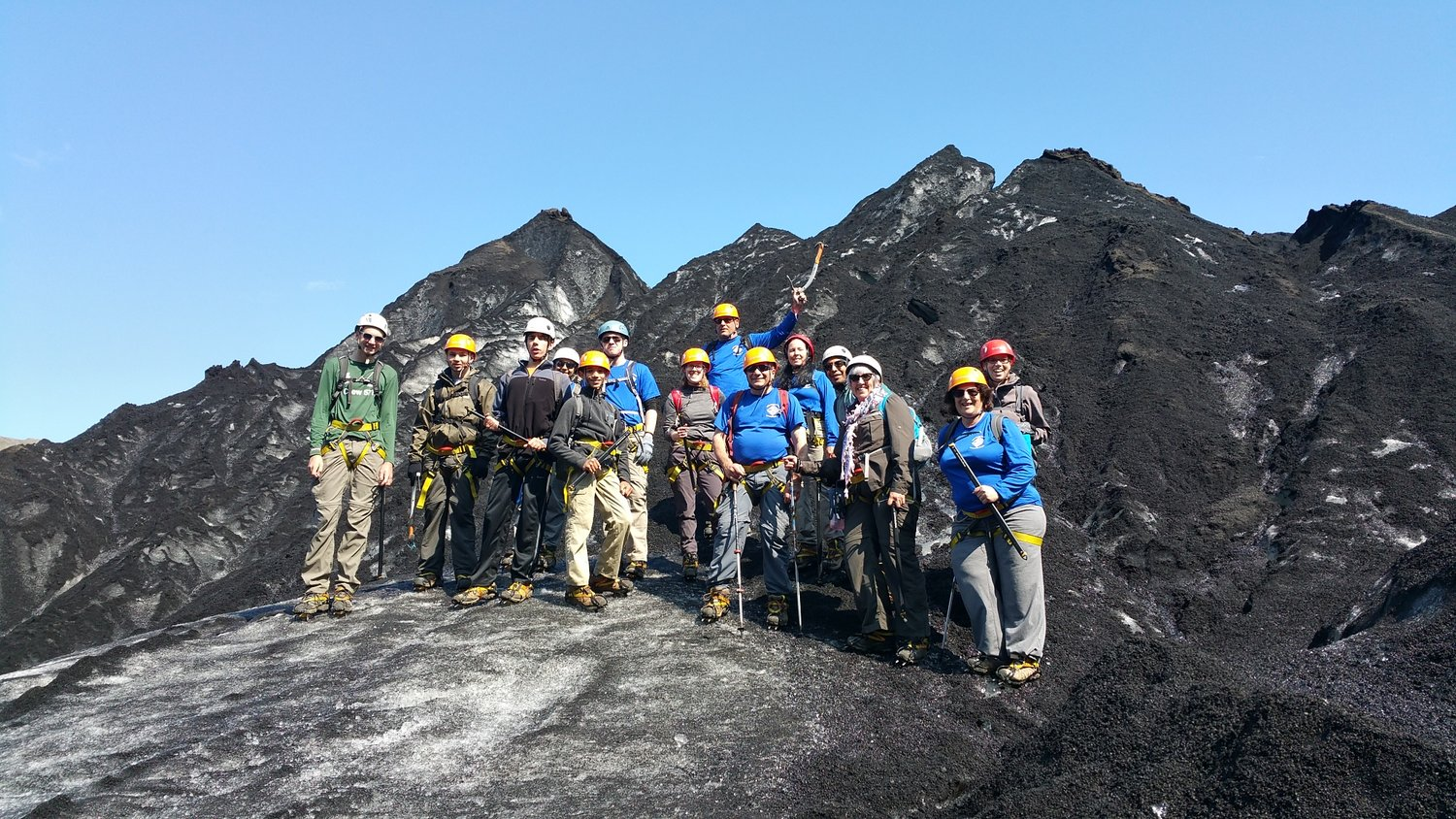 The crew visited Iceland last month. On July 6, they hiked up the Sòlheimajökull Glacier.
