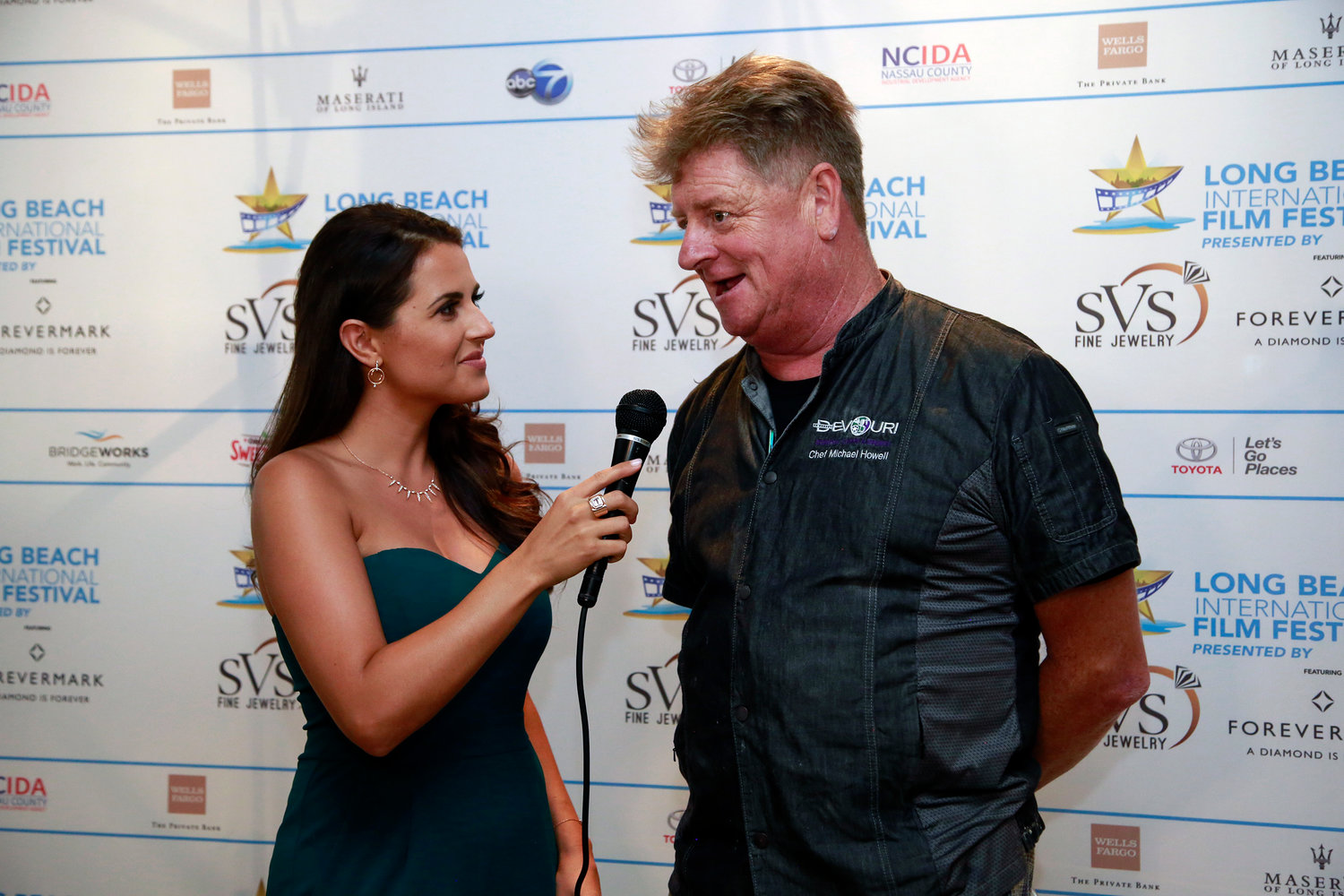 Long Beach Film Festival host, Marissa Hunter, above, interviewed chef Michael Howell of Devour !, The Food Film Fest.