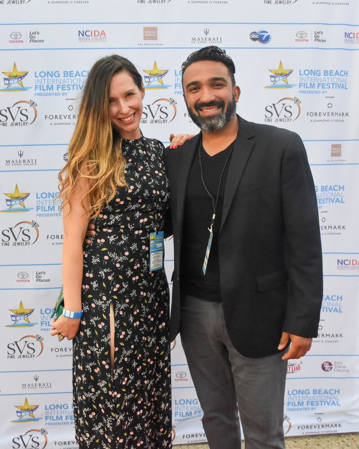 "Filmmakers Kevin Lopez and Annmarie Ragucci, far left, celebrated the screening of their film ""Mortician Magician"" at the film festival."