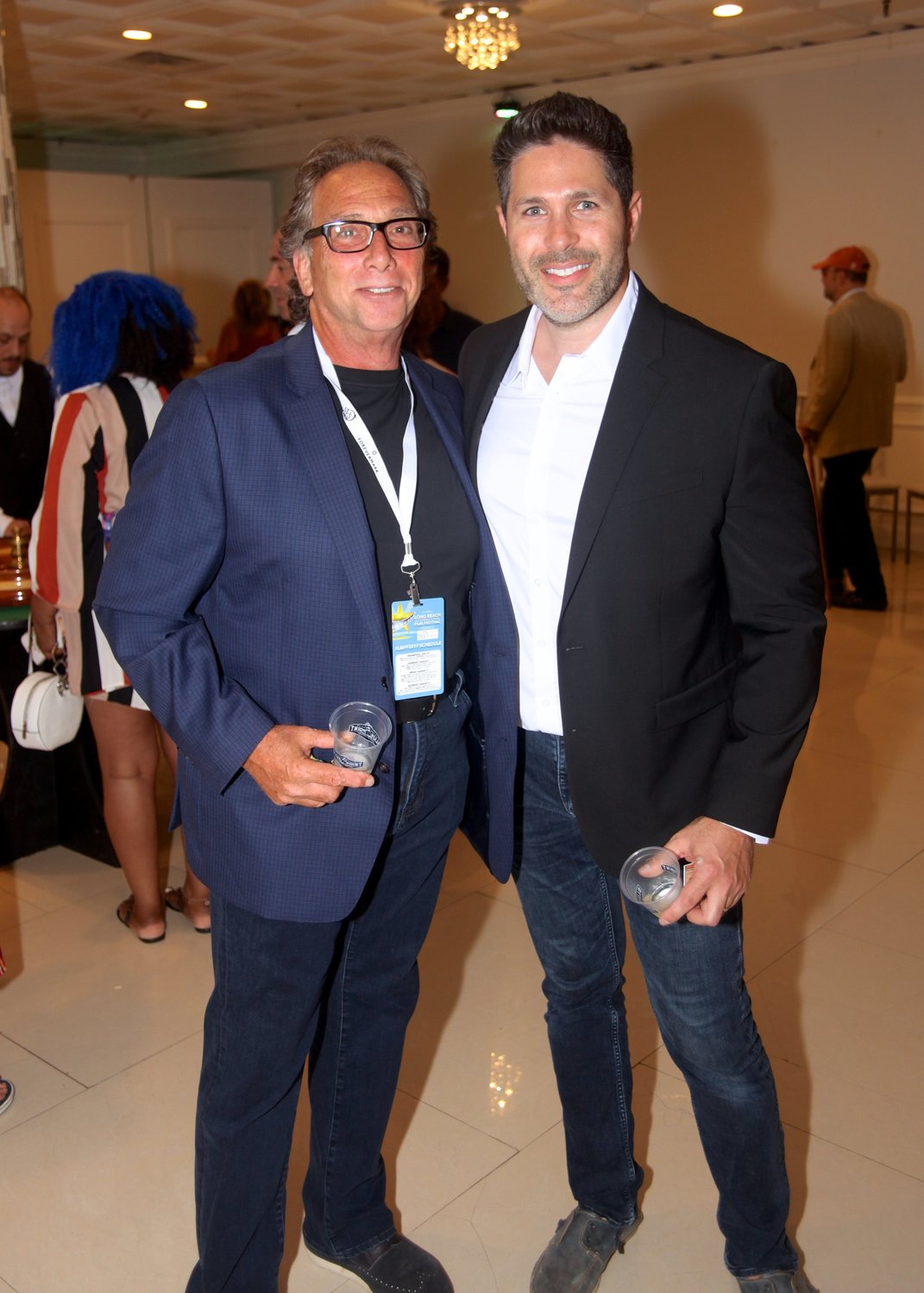 Ira Parr, left, and Long Beach International Film Festival co-founder Craig Weintraub at the casino night on August 3.
