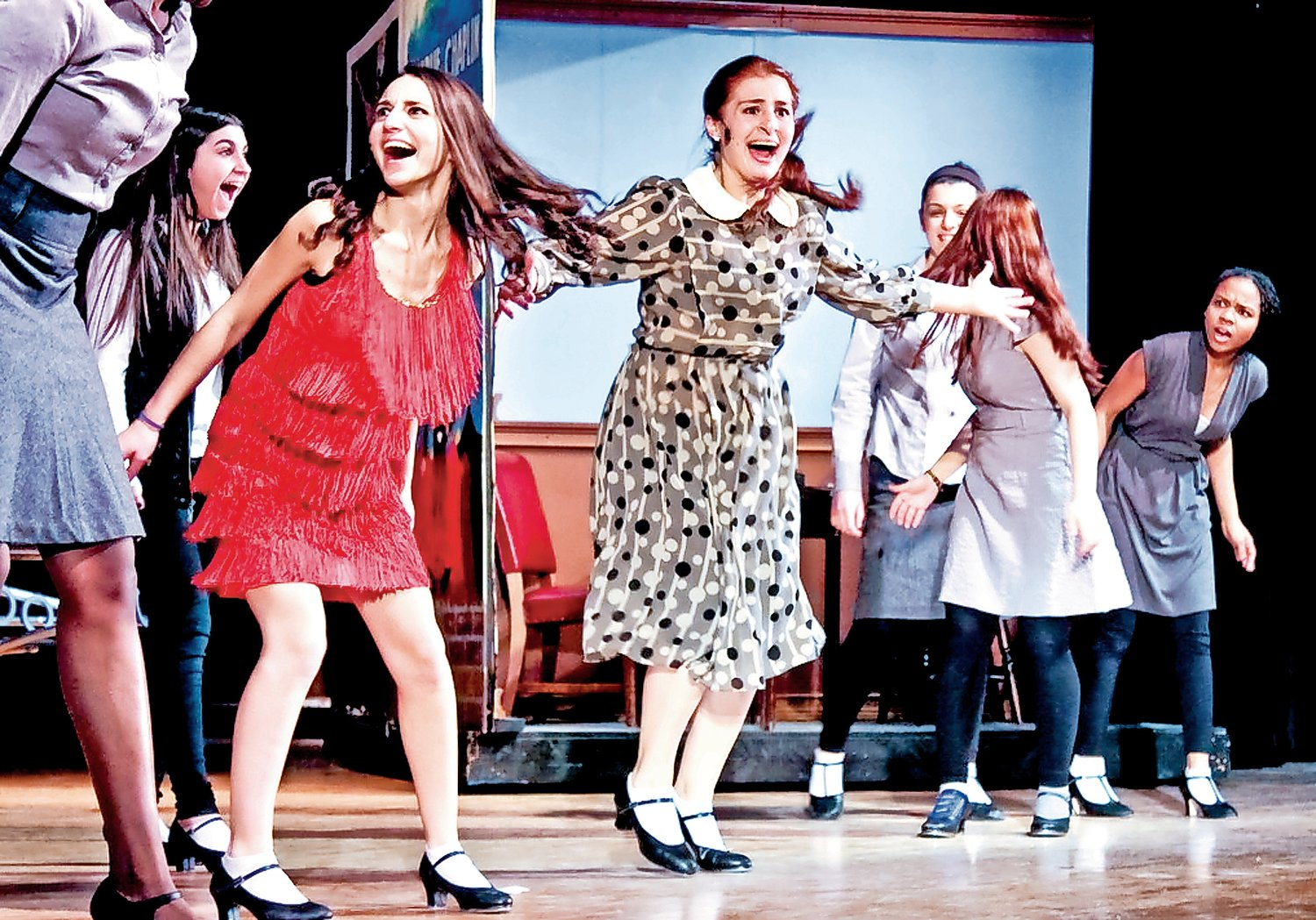 "Friedman, in red, in the John F. Kennedy High School drama club's production of ""Thoroughly Modern Millie"" in 2015."